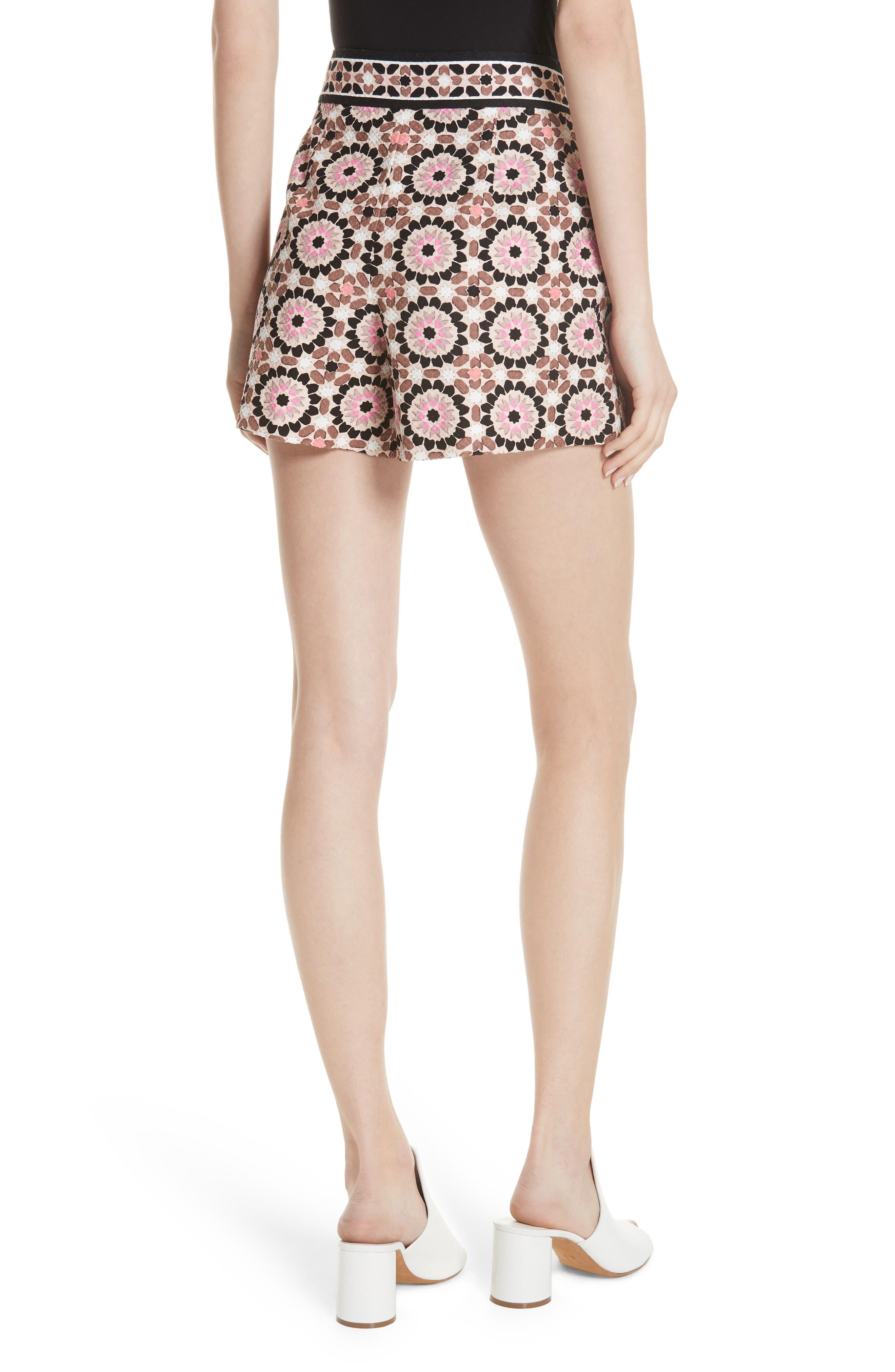 floral mosaic jacquard shorts,                             Alternate thumbnail 2, color,                             Pearl Pink Multi