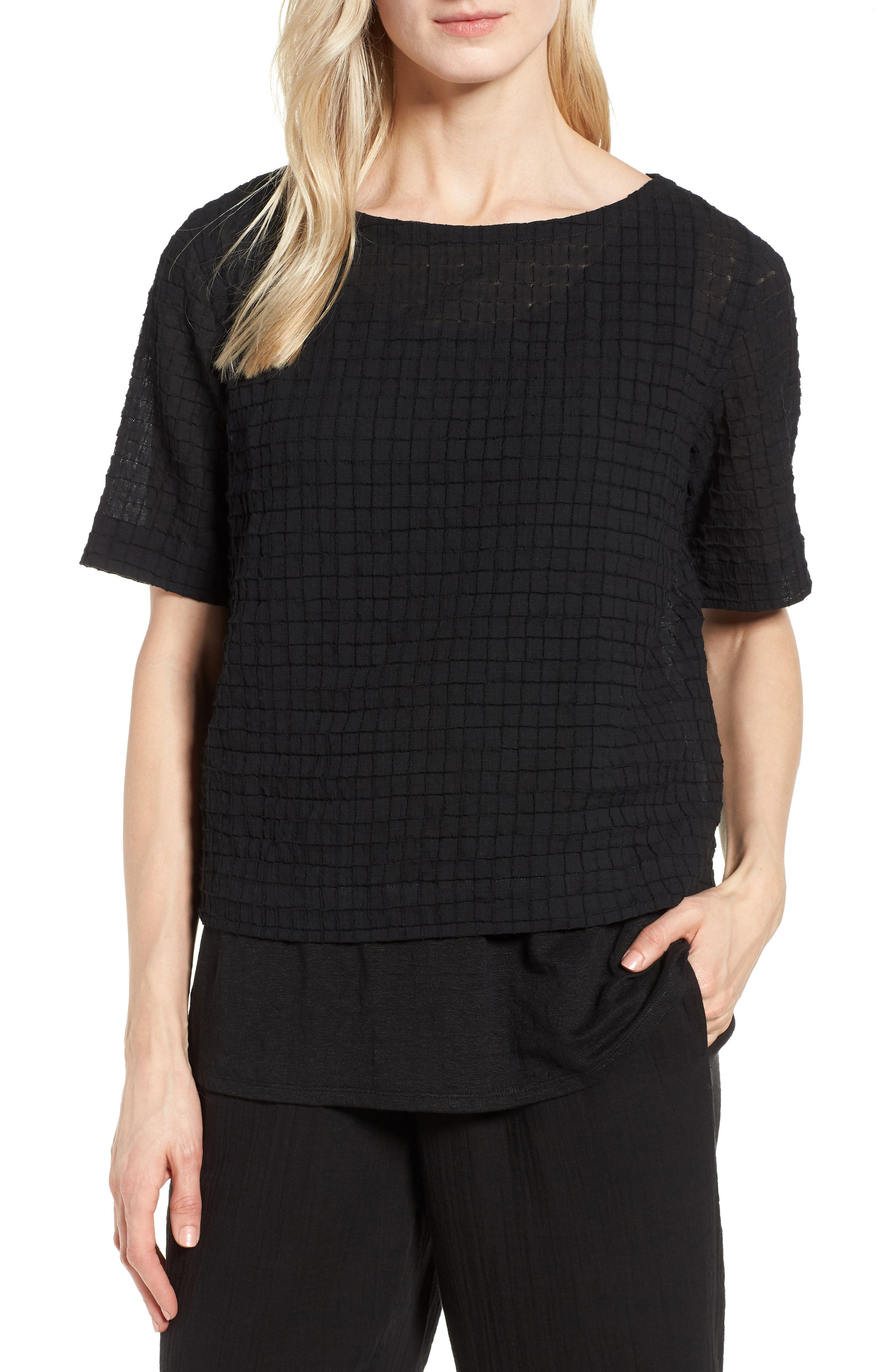 Stretch Organic Cotton Top,                         Main,                         color, Black