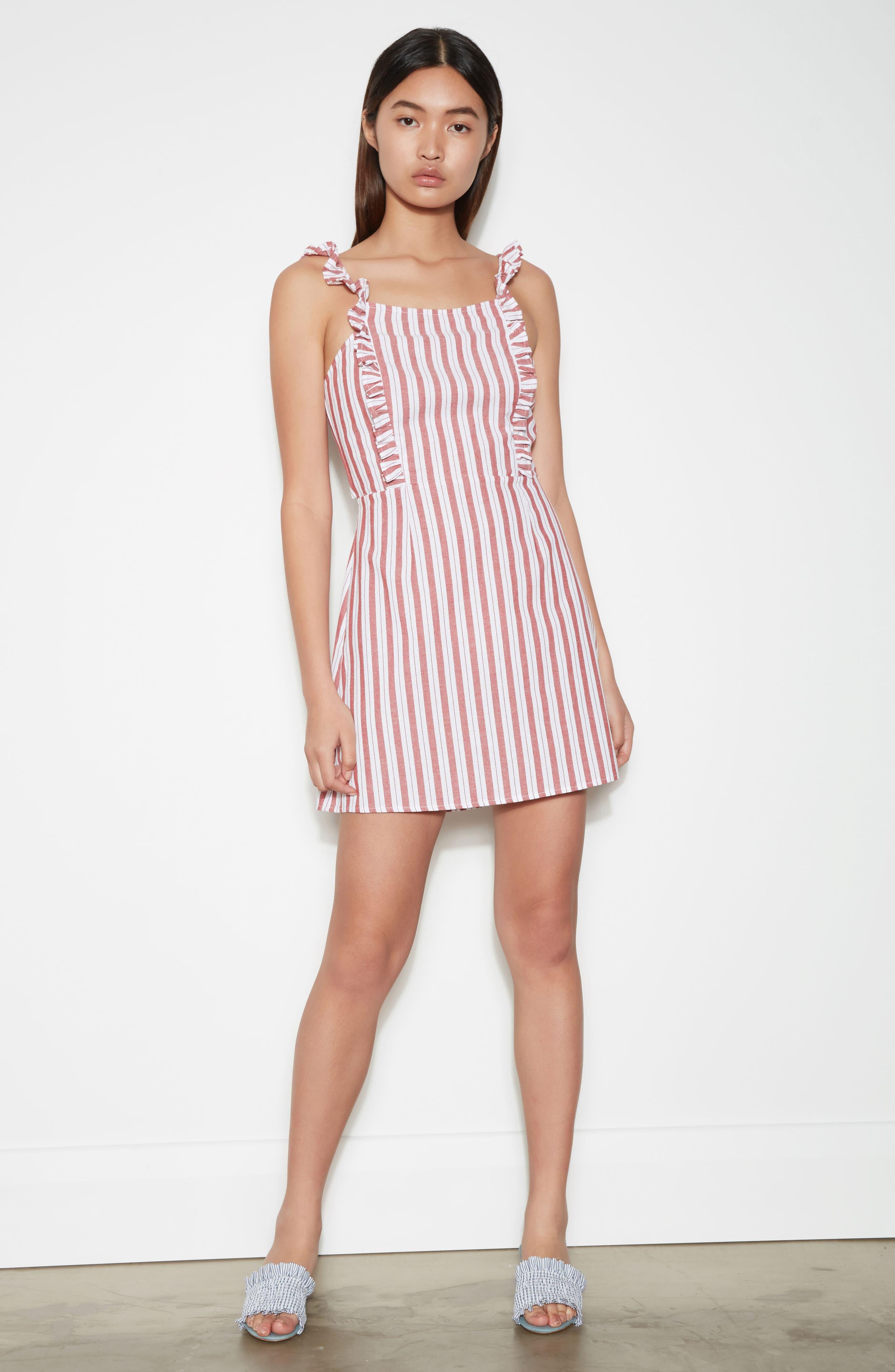 Acacia Stripe Ruffle Dress,                             Alternate thumbnail 2, color,                             White W Red