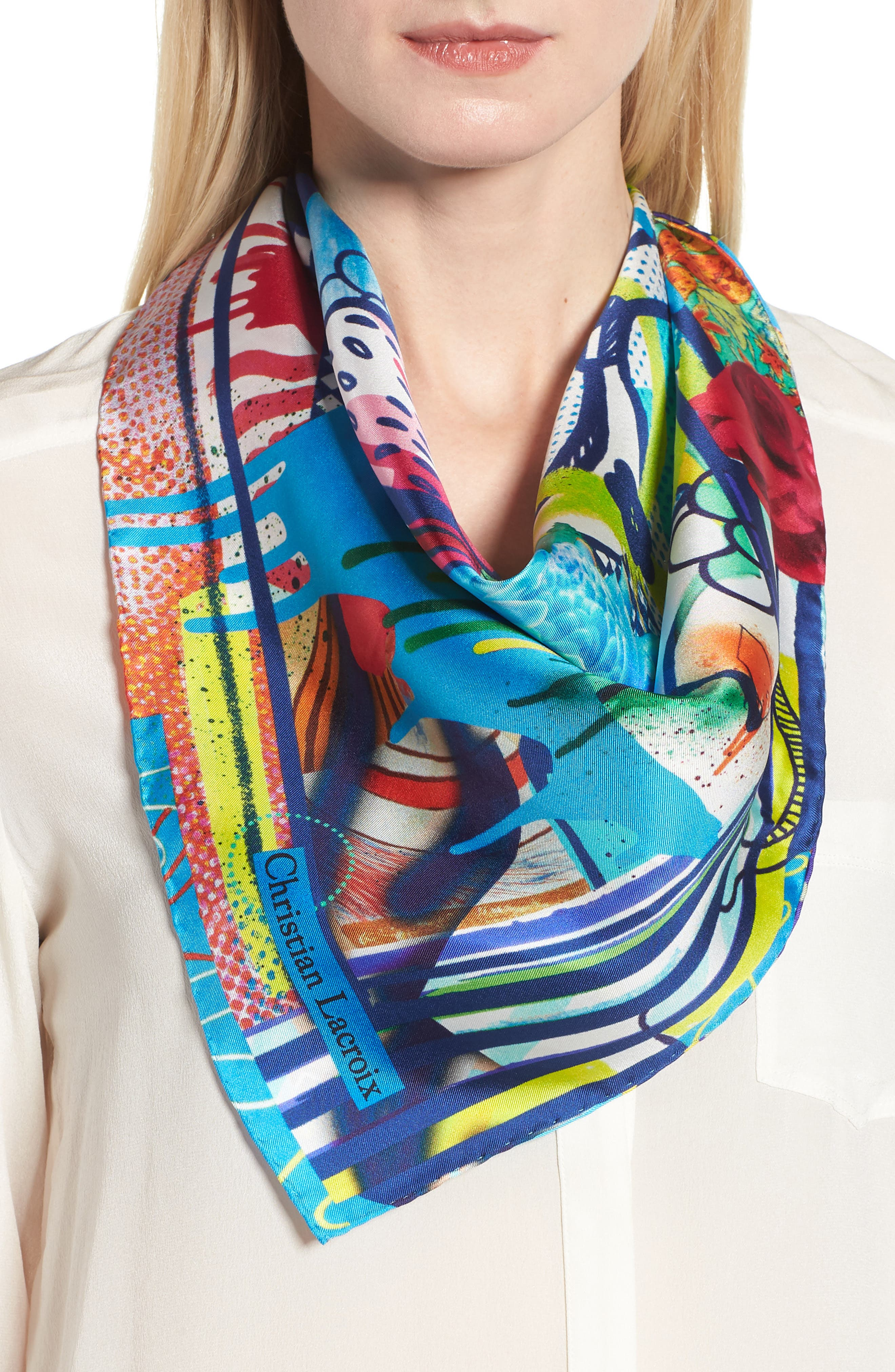 Floral Silk Scarf,                             Alternate thumbnail 2, color,                             Sky Blue