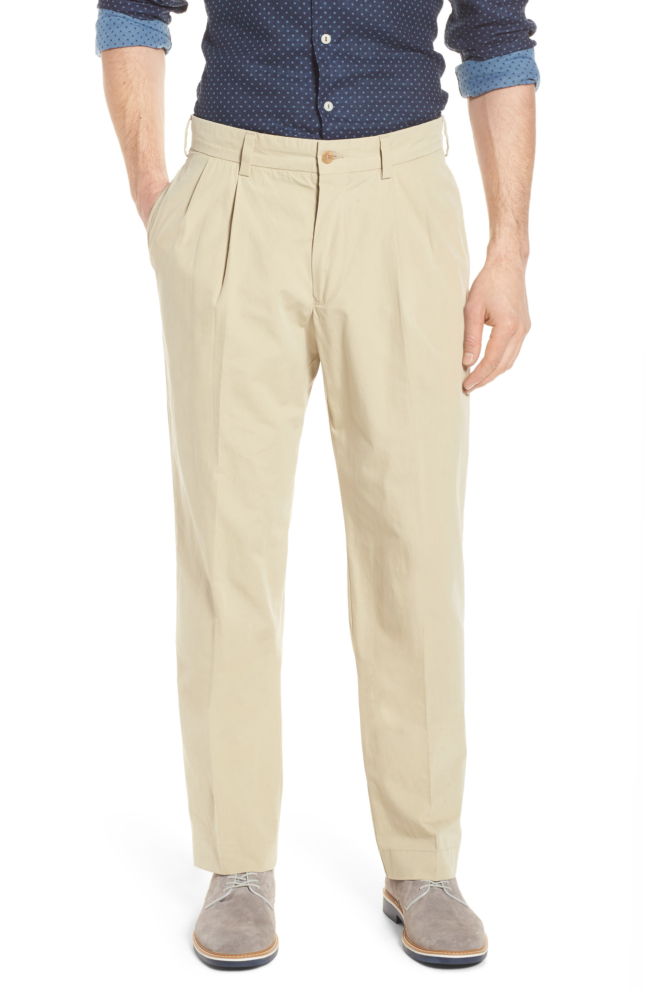 M2 Classic Fit Pleated Tropical Cotton Poplin Pants,                         Main,                         color, Khaki