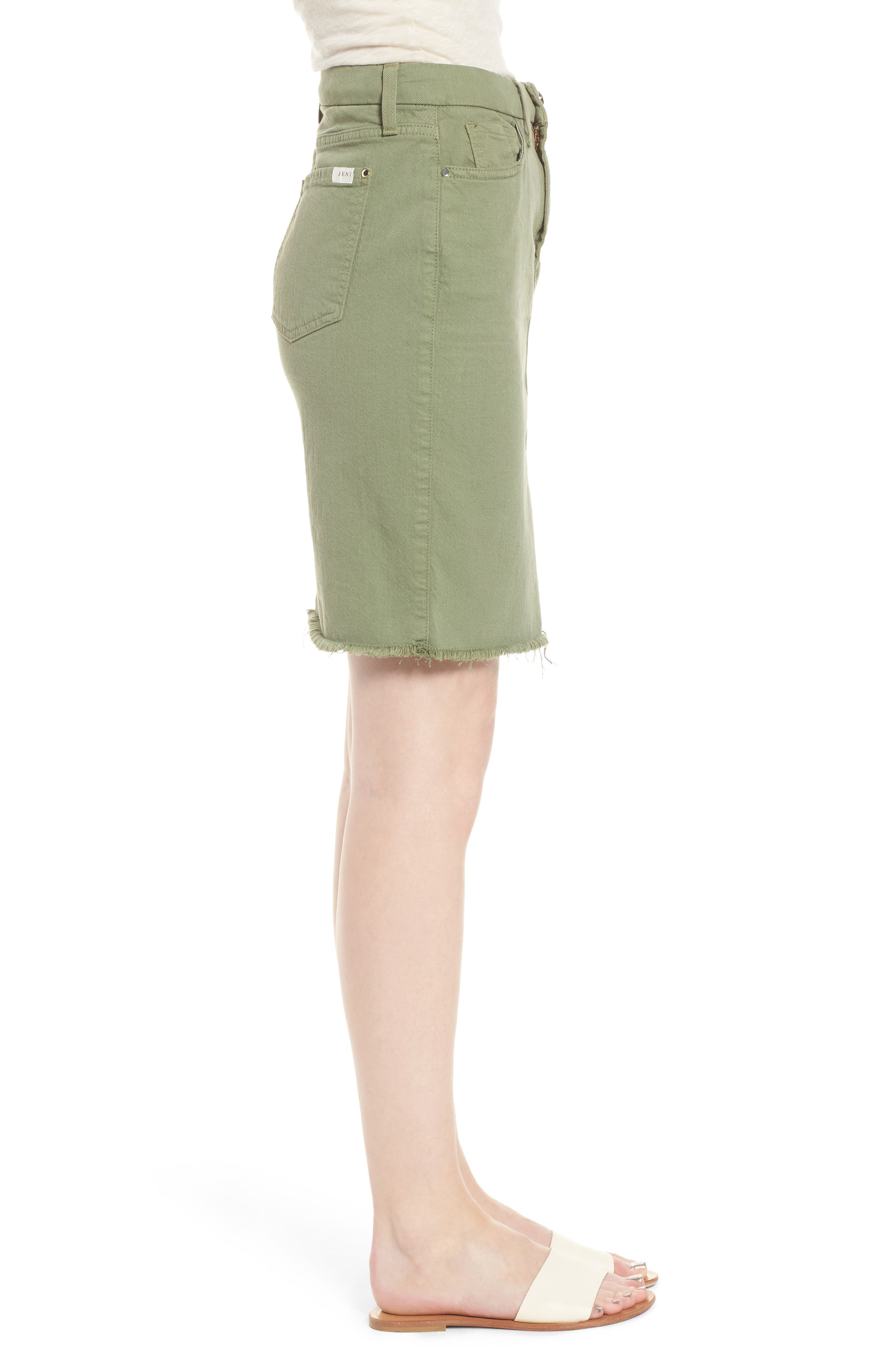 Frayed Hem Denim Pencil Skirt,                             Alternate thumbnail 3, color,                             Washed Army