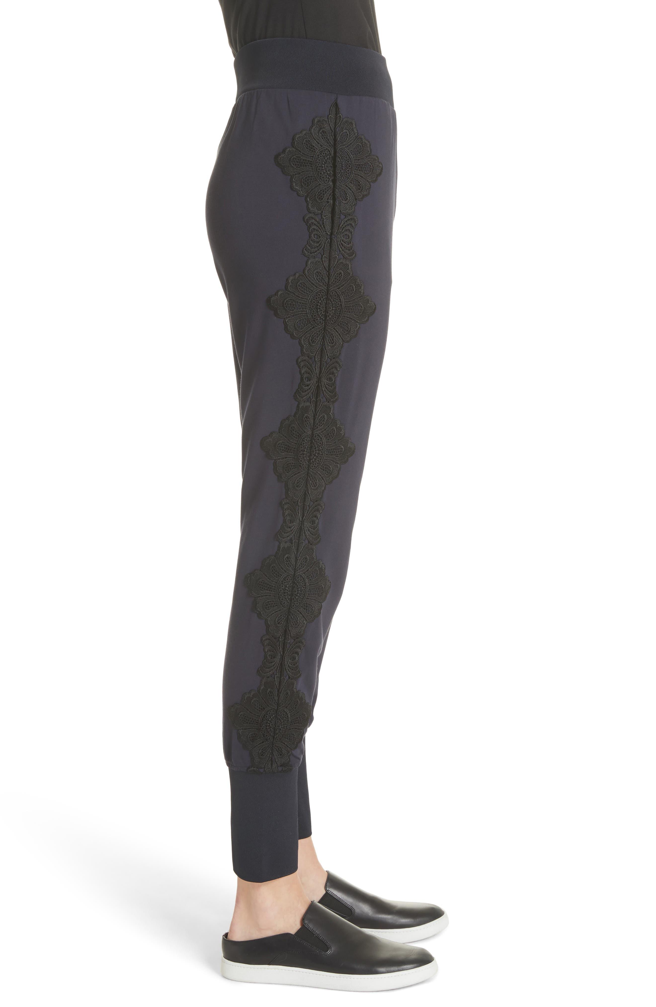 Lizeeba Lace Trim Jogger Pants,                             Alternate thumbnail 3, color,                             Navy