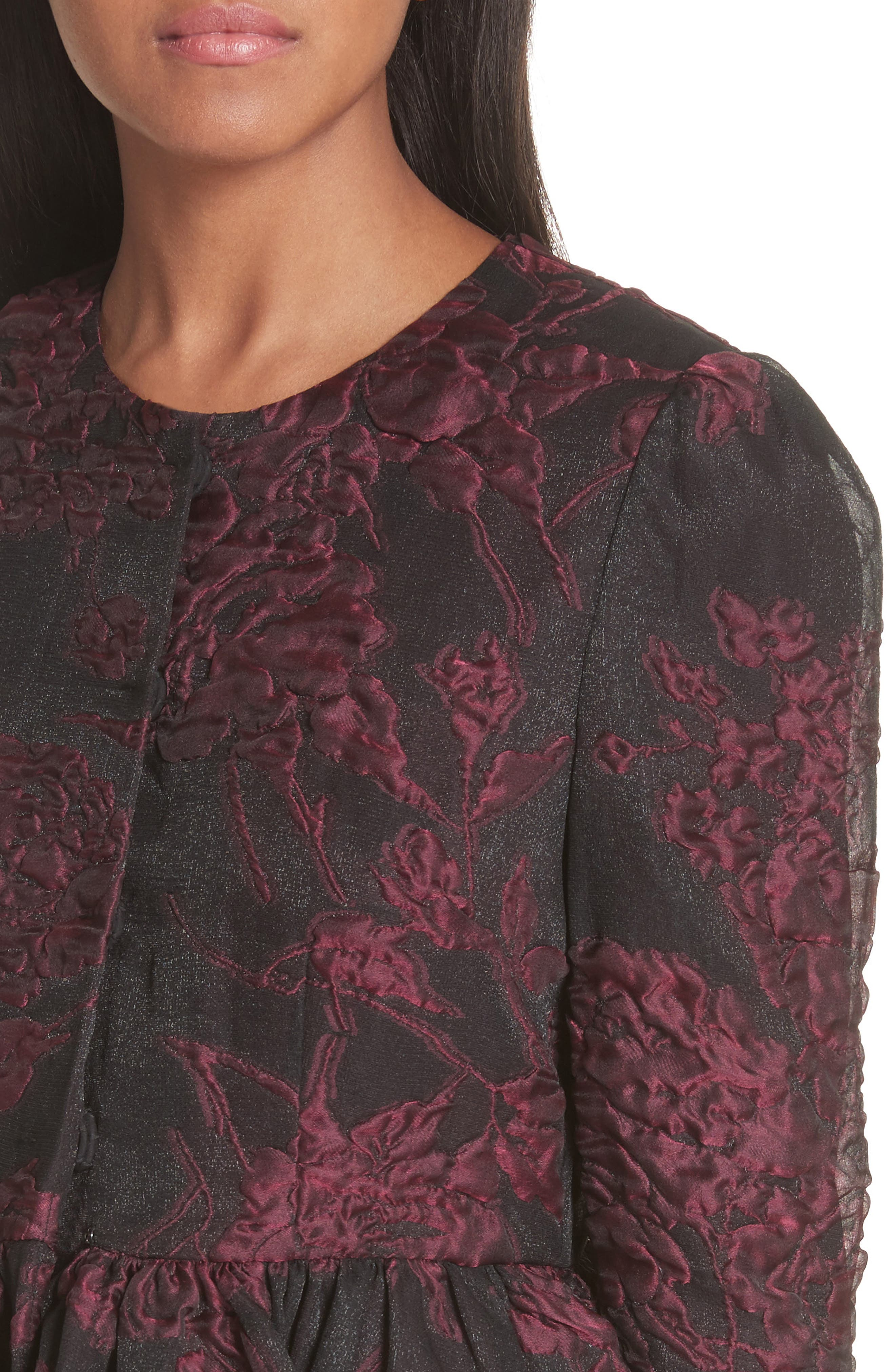 Floral Silk Blend Jacquard Peplum Jacket,                             Alternate thumbnail 4, color,                             Black/ Plum