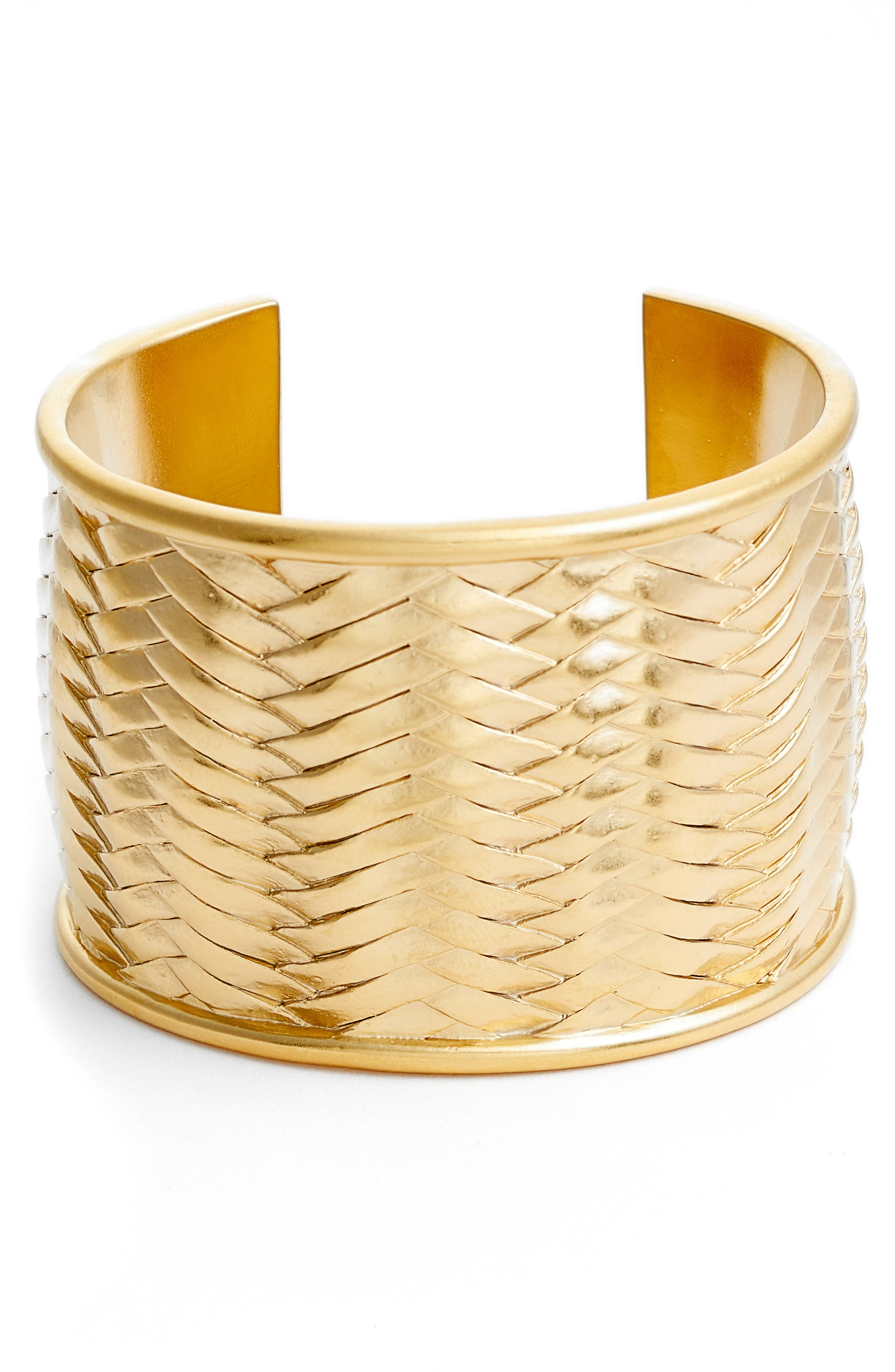 Woven Texture Cuff Bracelet,                         Main,                         color, Gold