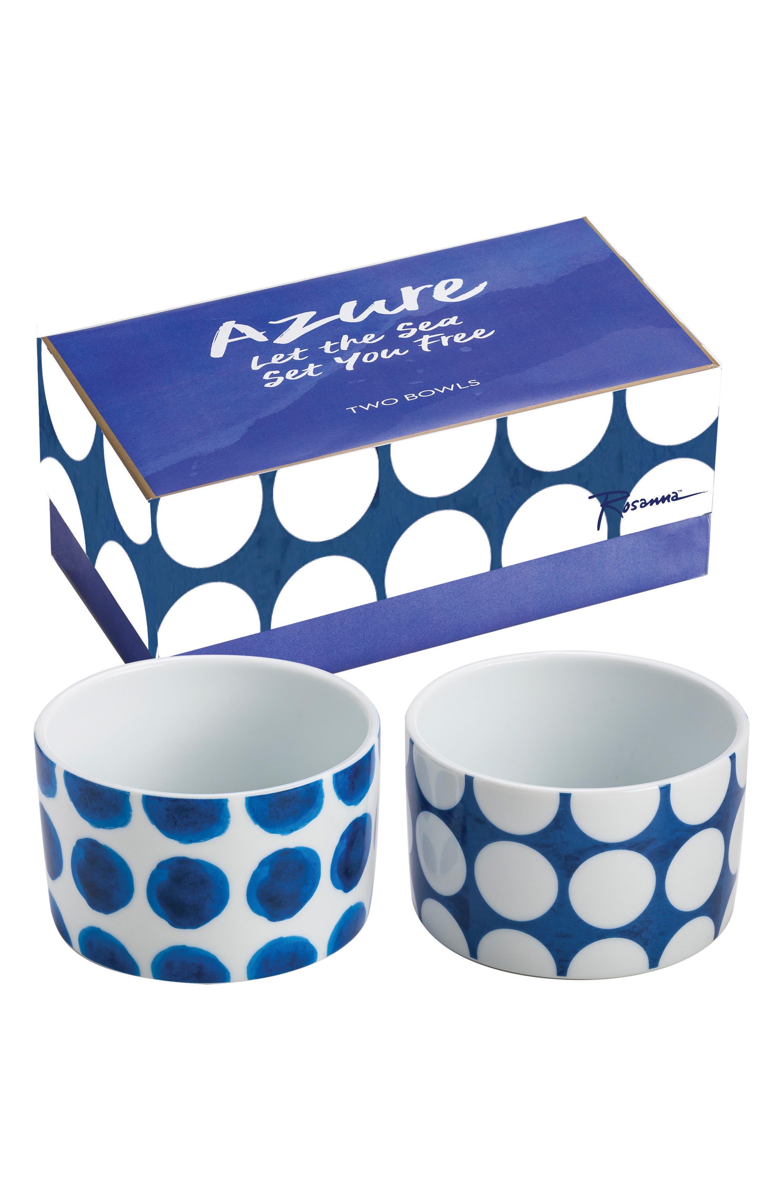 Polka Dot Set of 2 Bowls,                             Main thumbnail 1, color,                             Blue/ White