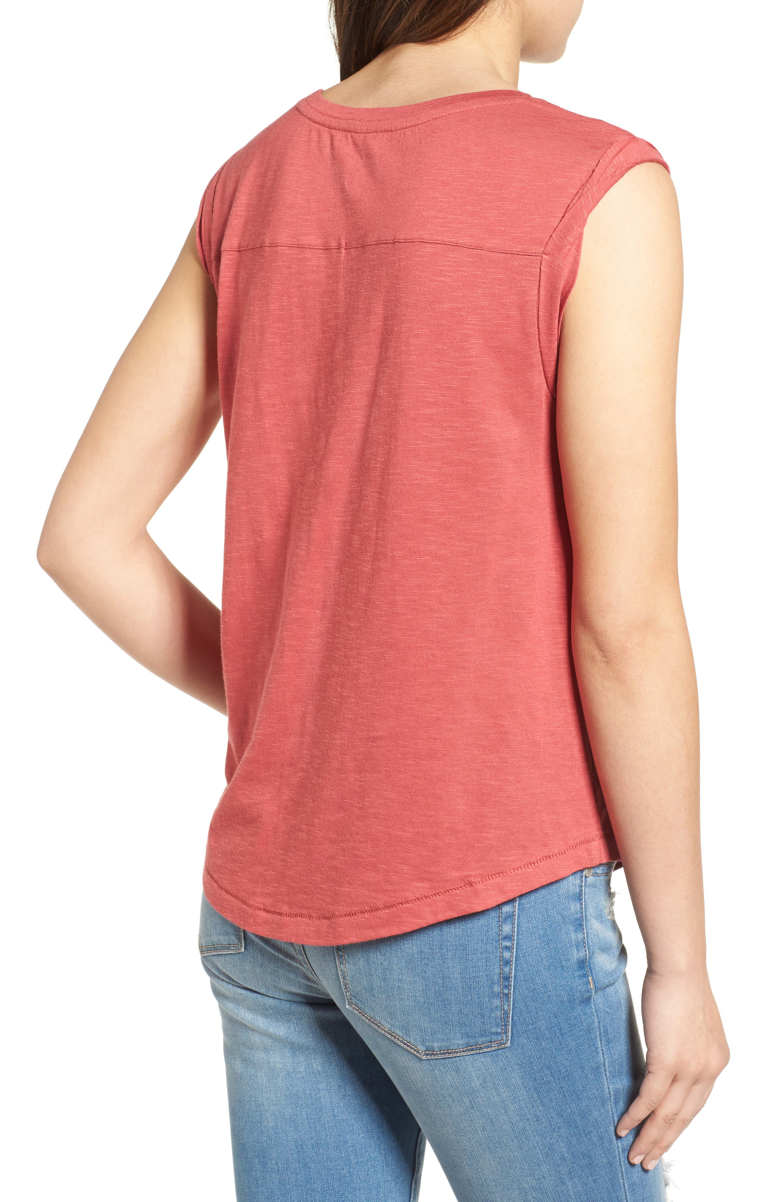 Embroidered Slub Knit Tank,                             Alternate thumbnail 2, color,                             Red Earth