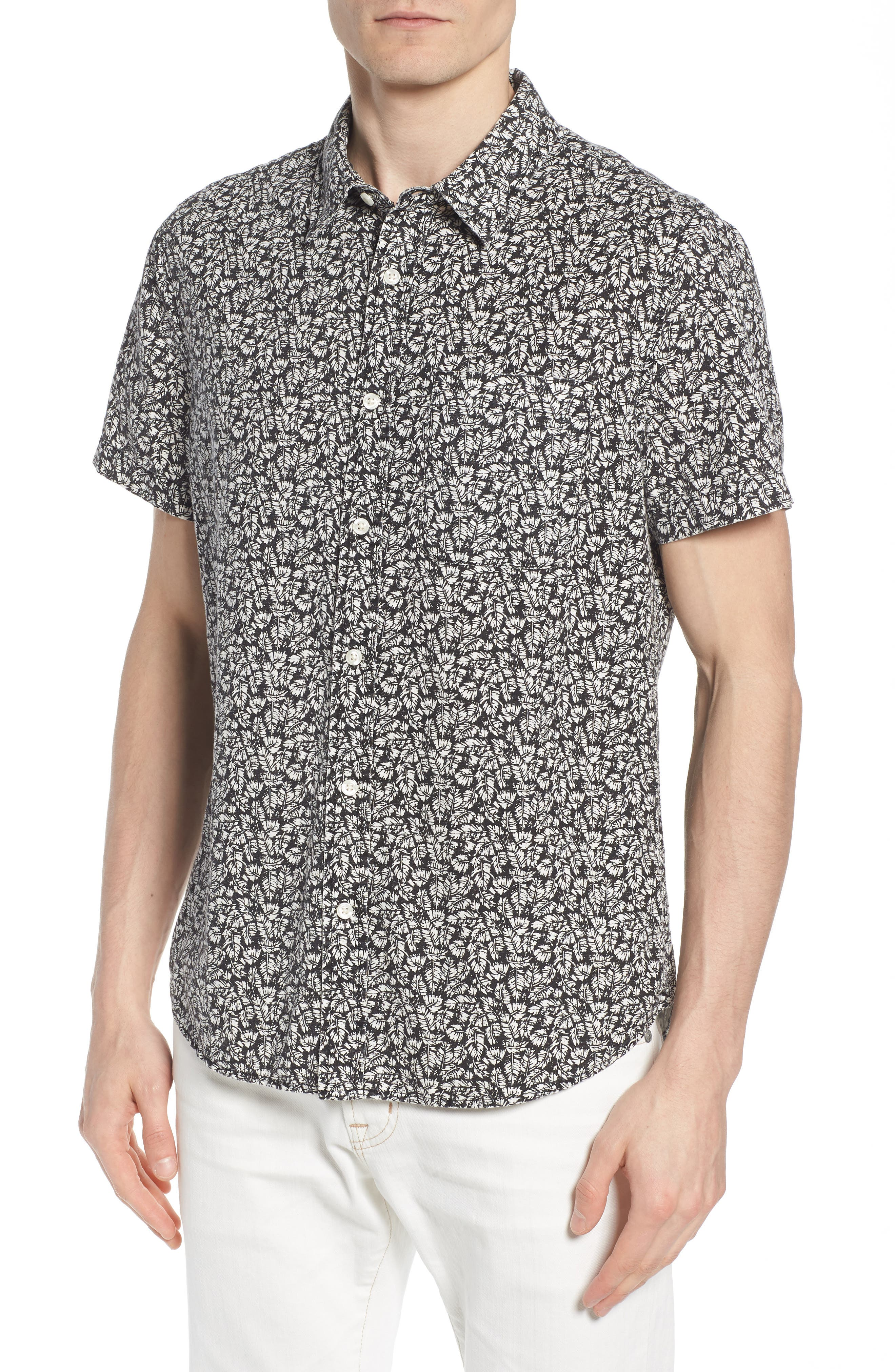 Nash Regular Fit Short Sleeve Sport Shirt,                             Main thumbnail 1, color,                             Palm Leaf True Black/ White