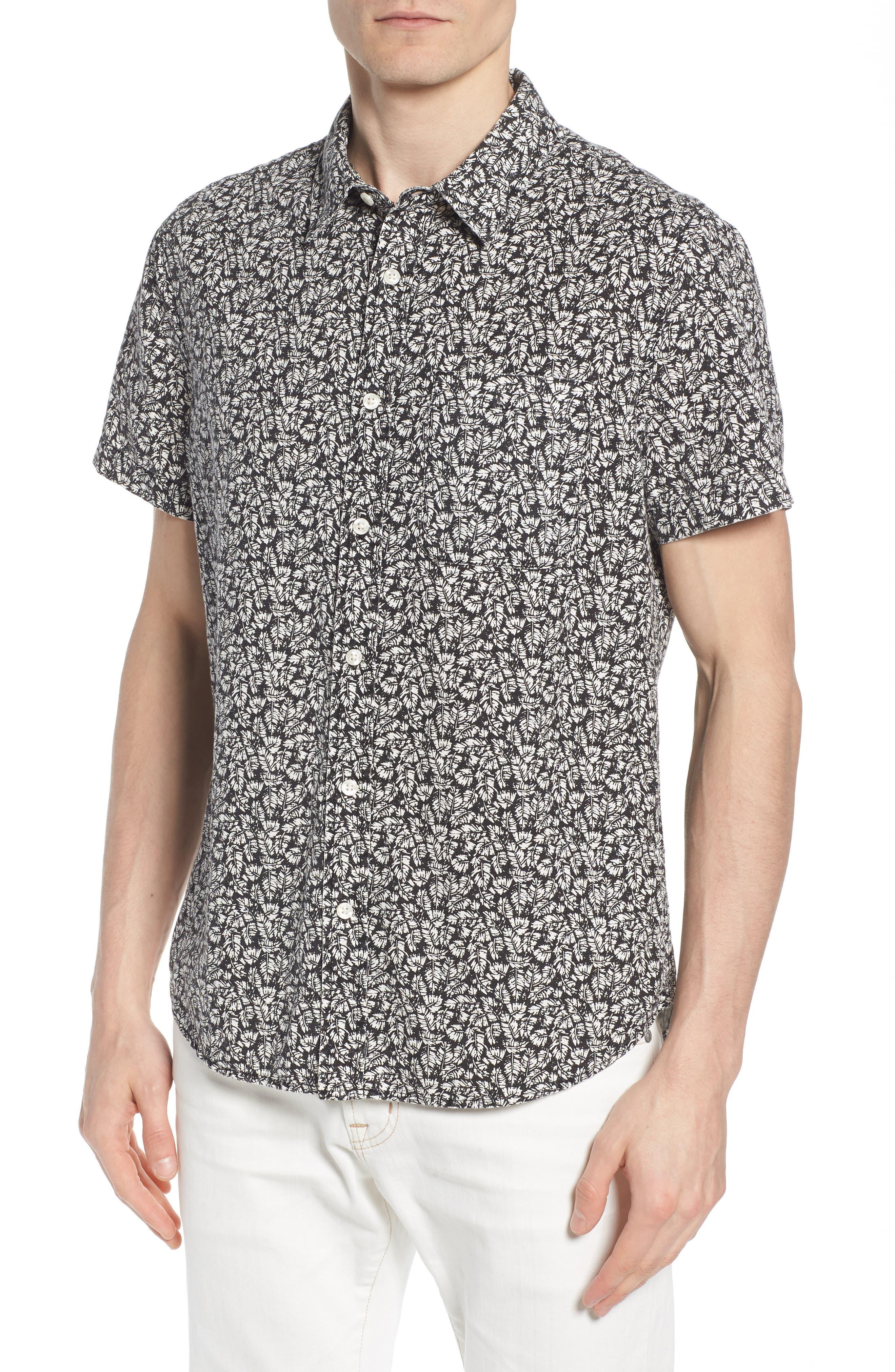 Nash Regular Fit Short Sleeve Sport Shirt,                         Main,                         color, Palm Leaf True Black/ White
