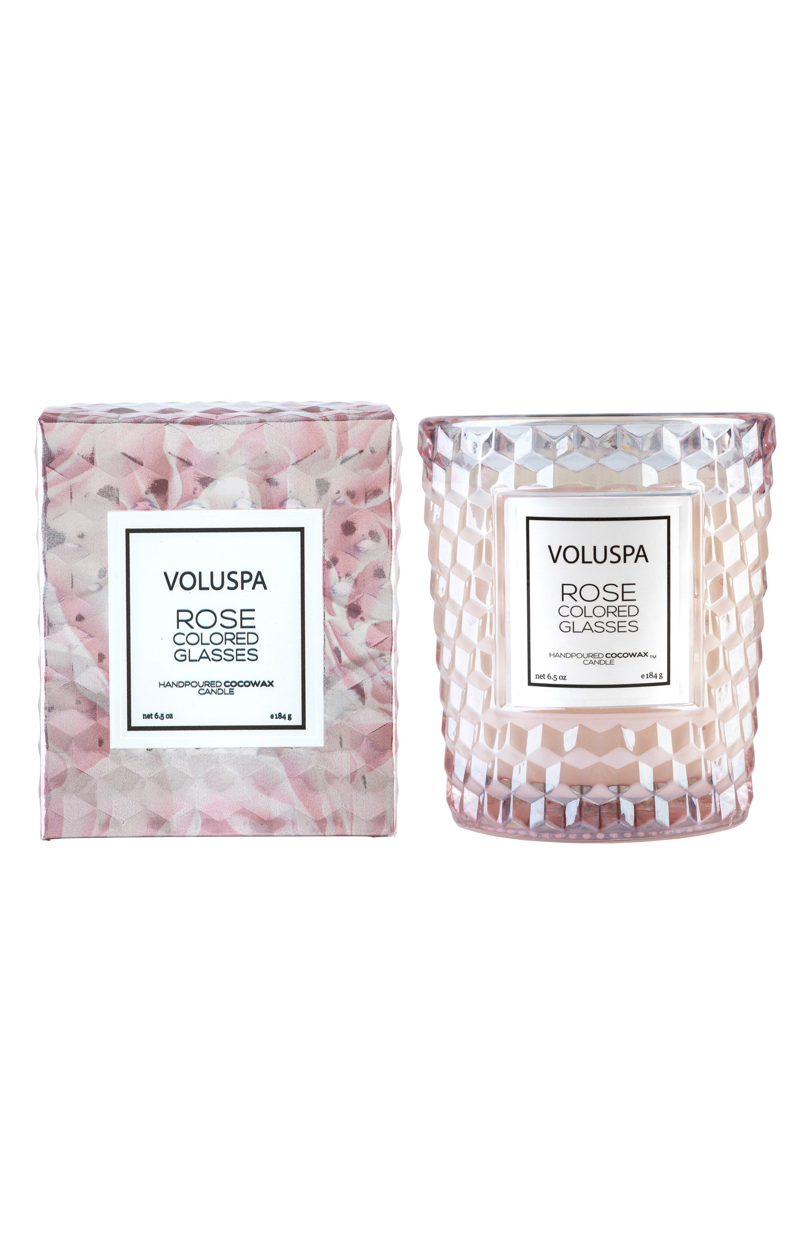Roses Classic Textured Glass Candle,                             Alternate thumbnail 2, color,                             Rose Colored Glasses