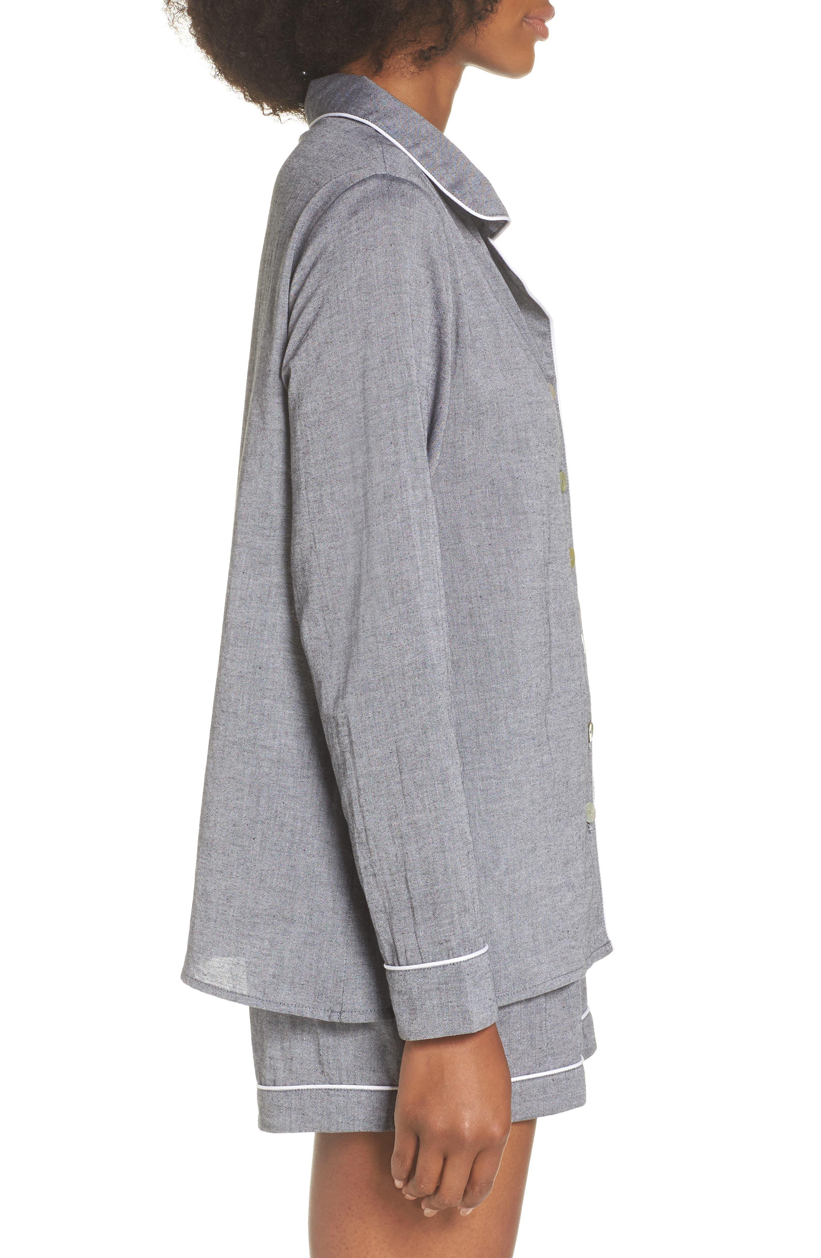 Short Pajamas,                             Alternate thumbnail 3, color,                             Charcoal