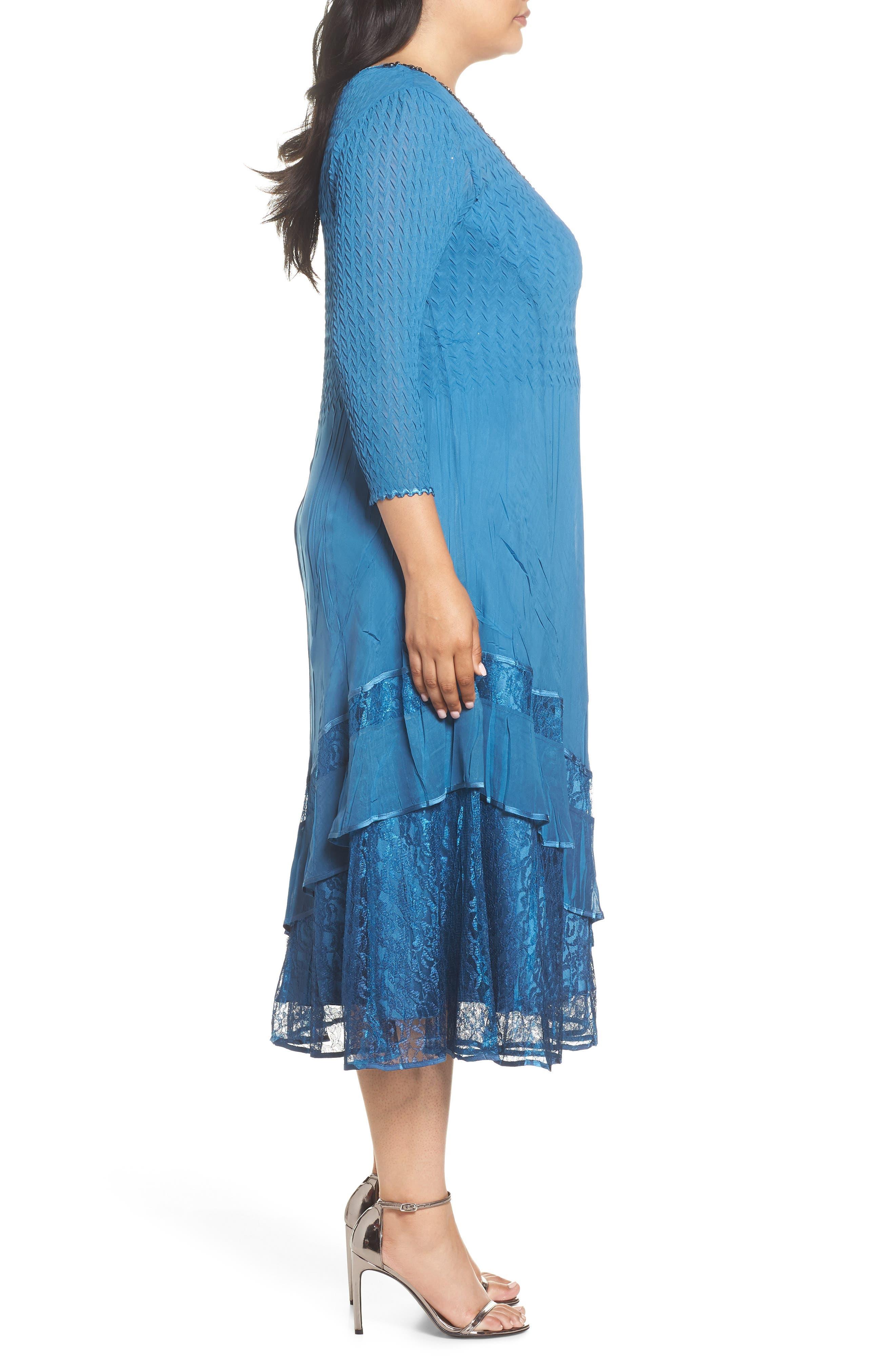 Beaded Neck Asymmetrical Charmeuse A-Line Dress,                             Alternate thumbnail 3, color,                             Blue Dusk Night Ombre