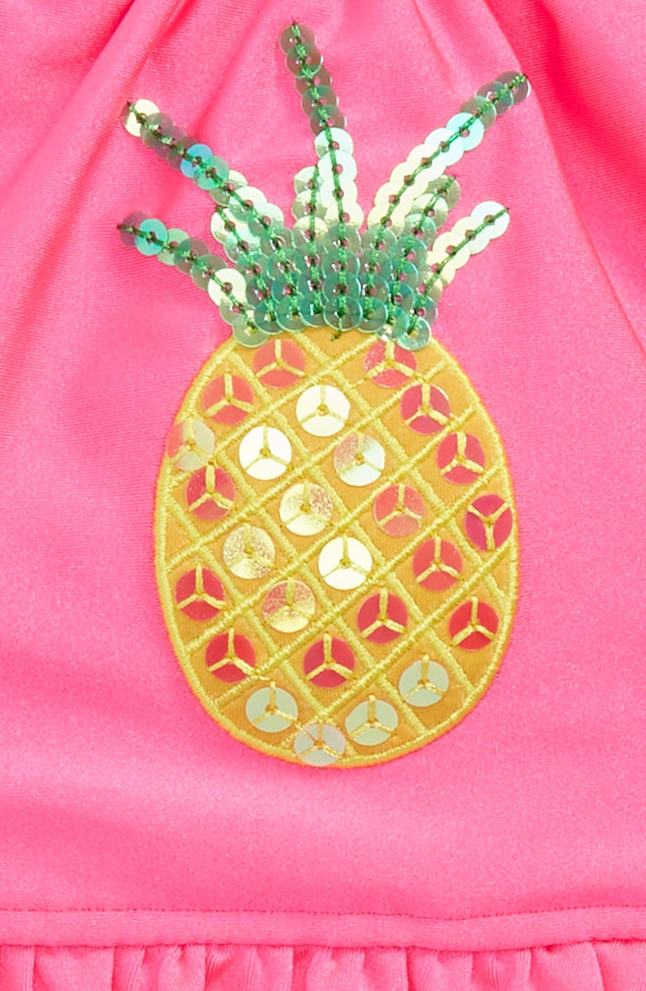 Alternate Image 2  - Love U Lots Pineapple Hula Two-Piece Bikini Swimsuit (Toddler Girls & Little Girls)