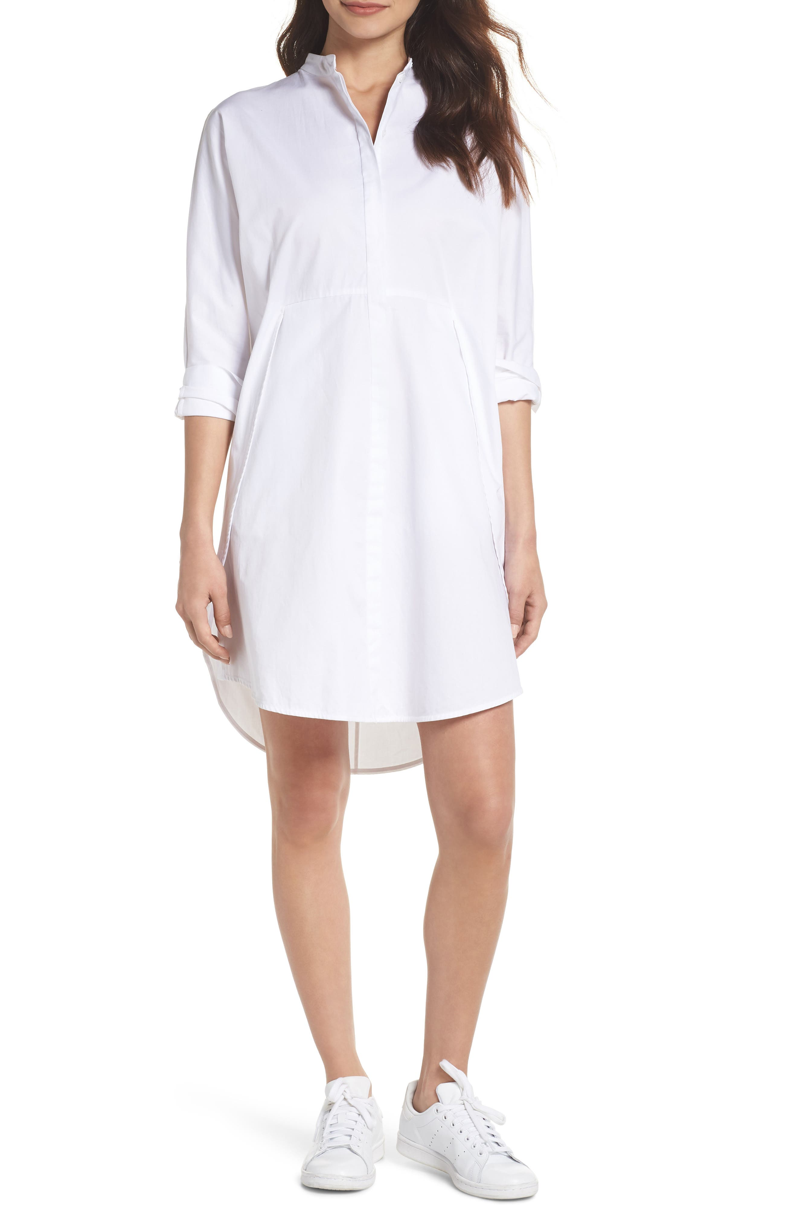 Boyfriend Shirtdress,                             Main thumbnail 1, color,                             White