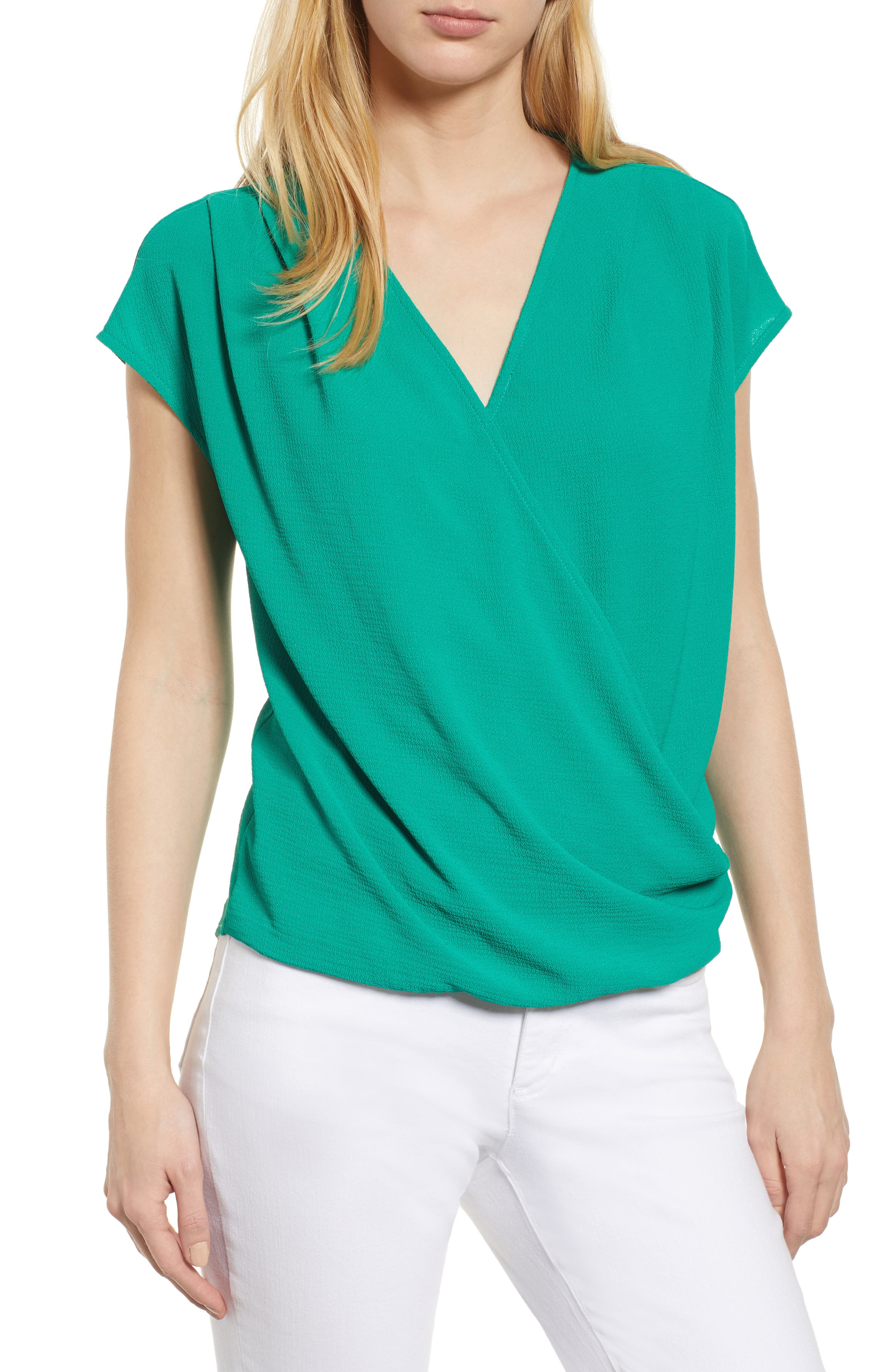 Draped Faux Wrap Top,                             Main thumbnail 1, color,                             Green Lake