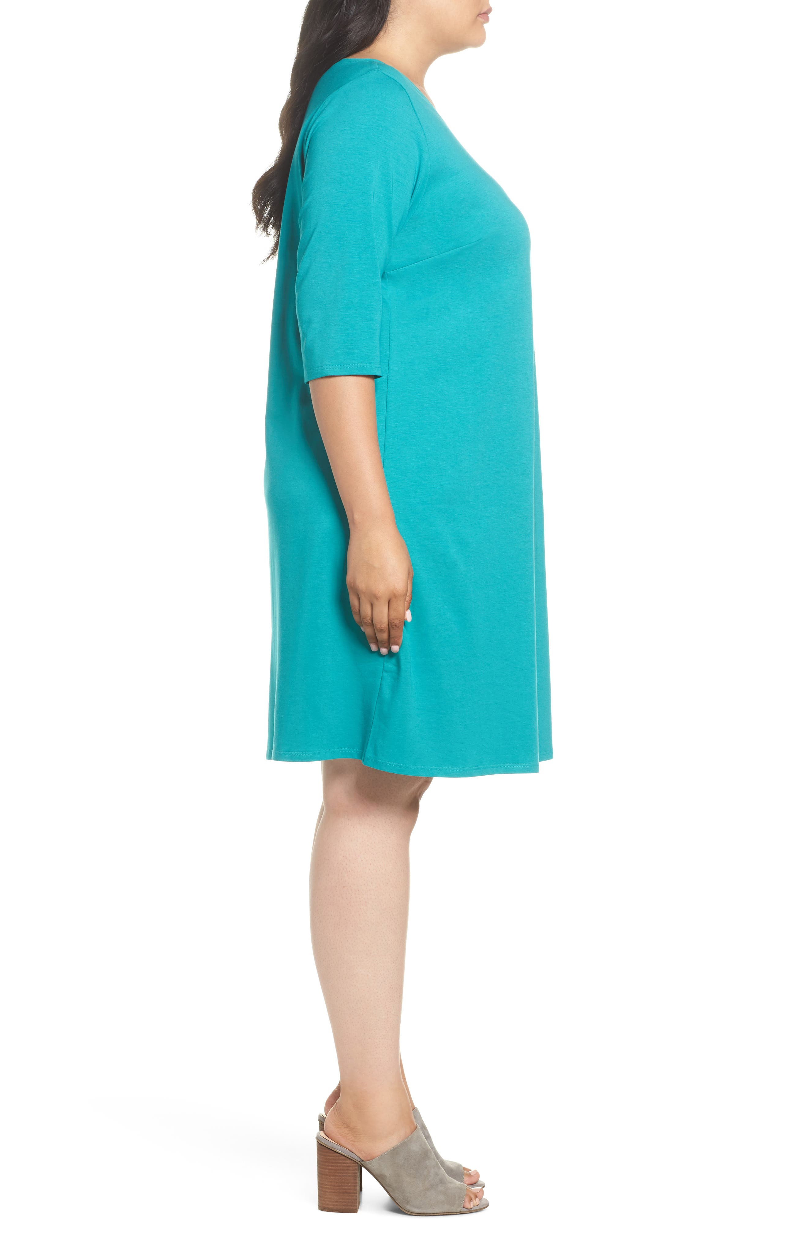 Stretch Organic Cotton Shift Dress,                             Alternate thumbnail 3, color,                             Turquoise