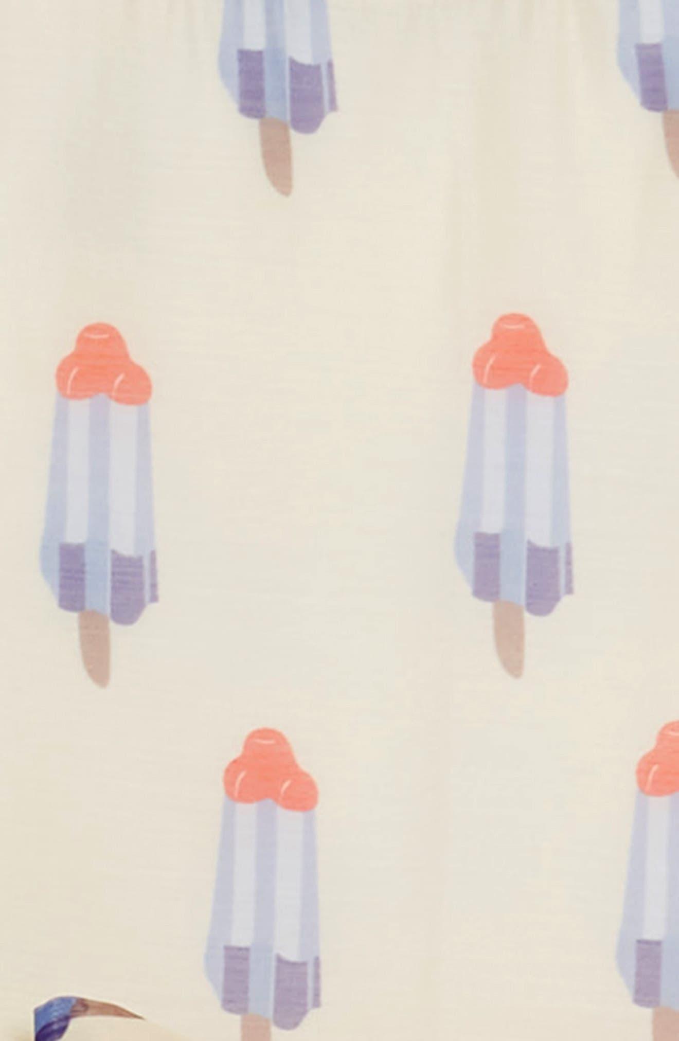 Popsicle Print Fit & Flare Dress,                             Alternate thumbnail 3, color,                             Tan Multi