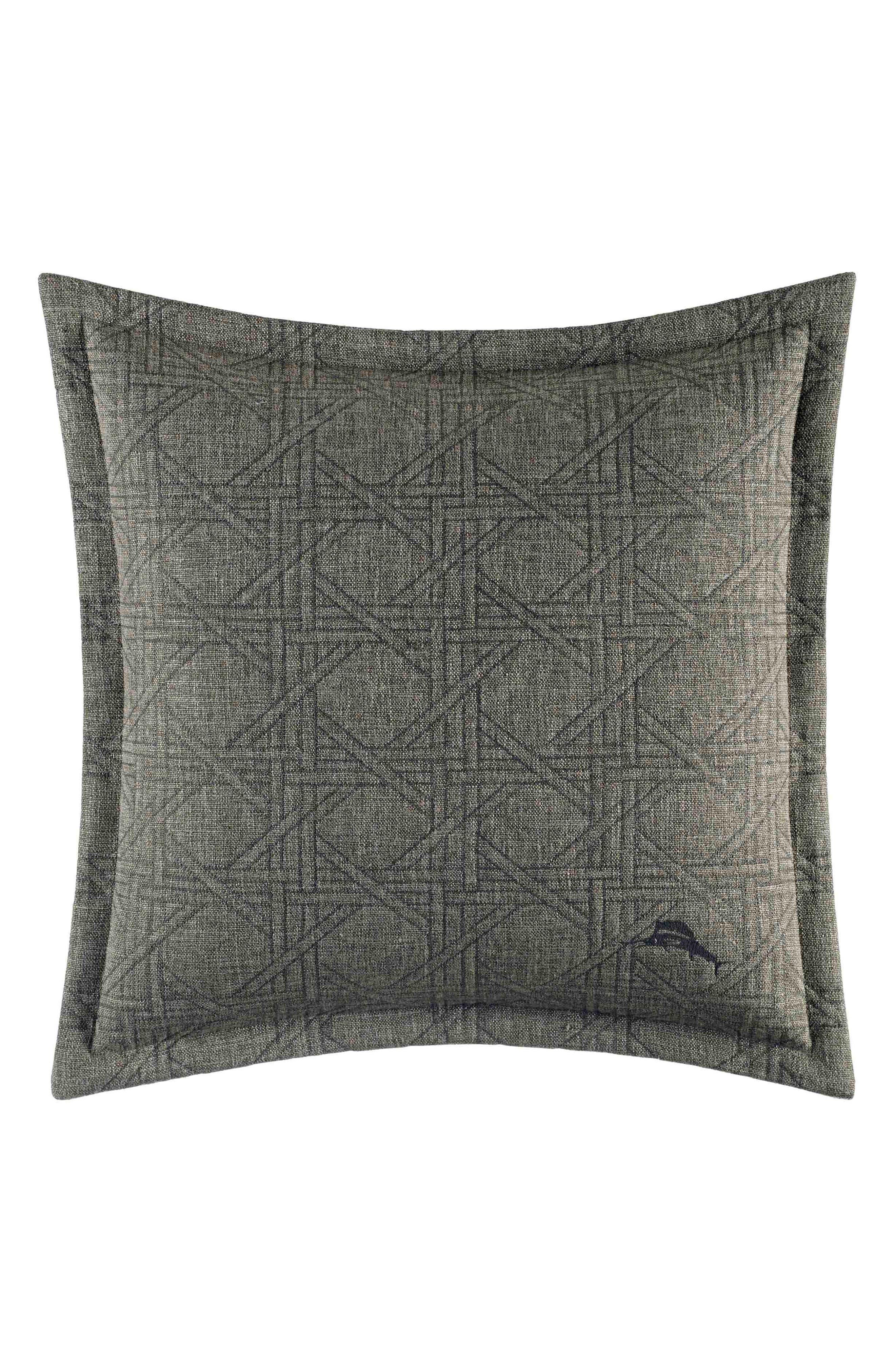 Palms Away Accent Pillow,                             Main thumbnail 1, color,                             Dark Green