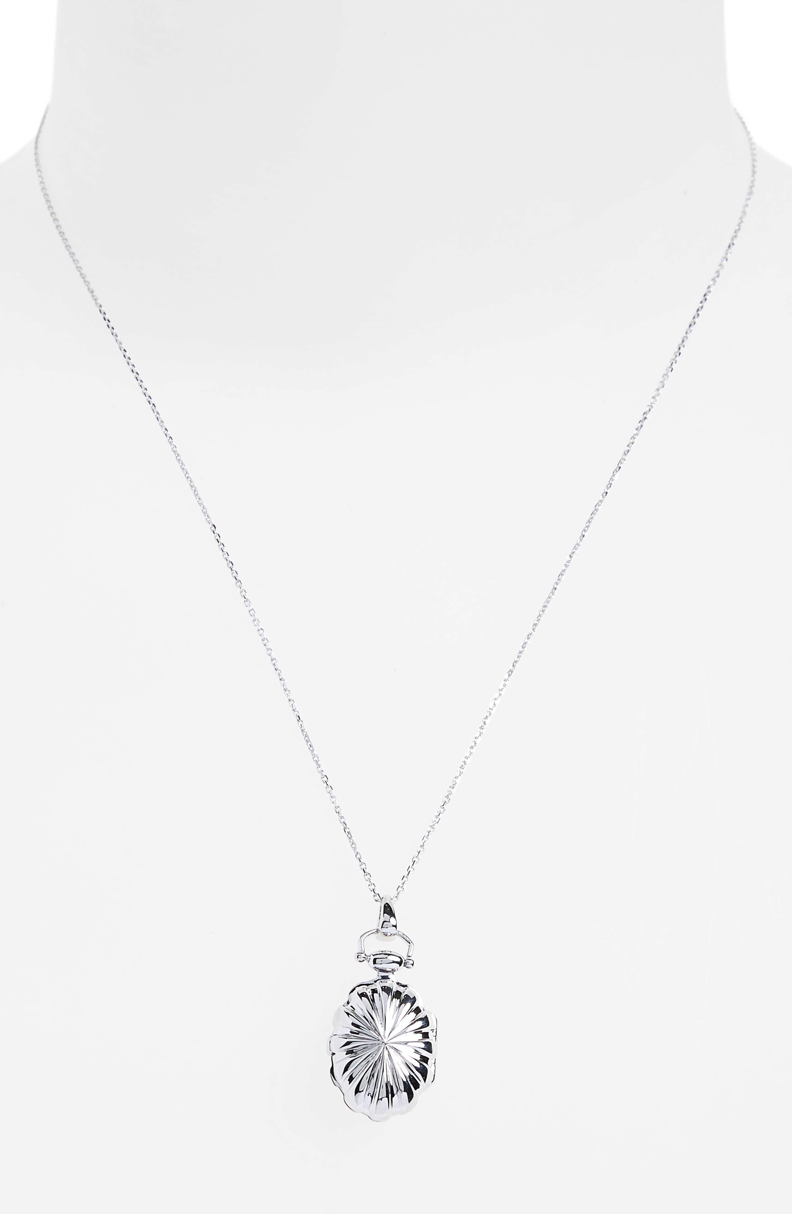 Petite Sunburst Locket Necklace,                             Alternate thumbnail 3, color,                             Sterling Silver
