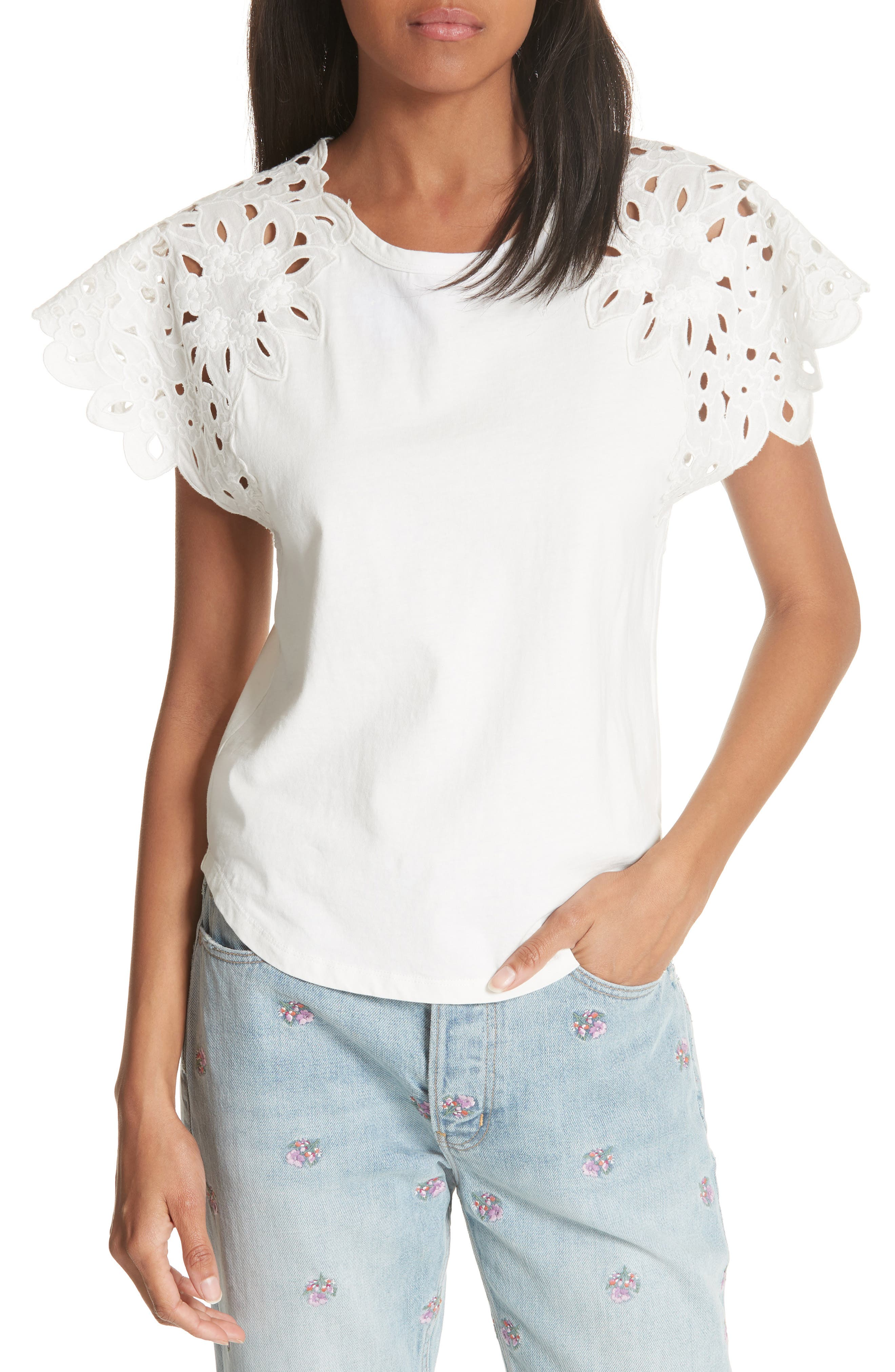 La Vie Rebecca Taylor Embroidery Sleeve Cotton Top