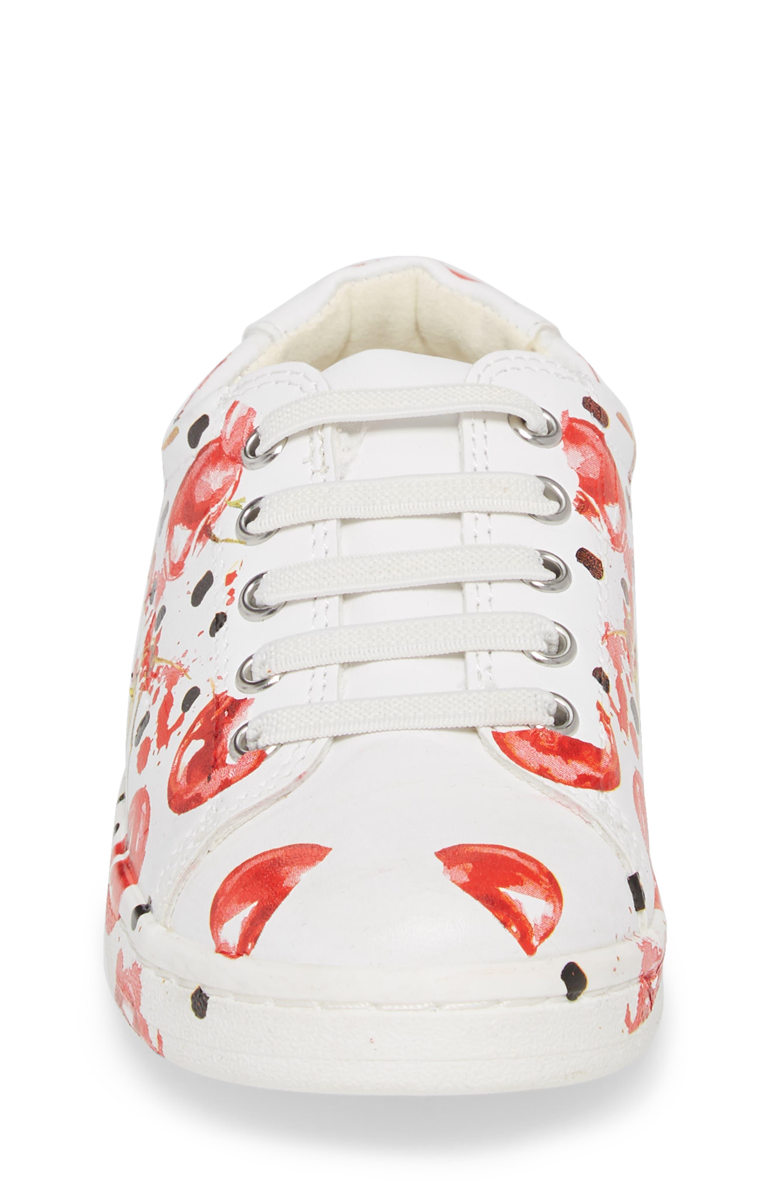Blane Milford Fruit Print Sneaker,                             Alternate thumbnail 4, color,                             White/ Cherry Faux Leather