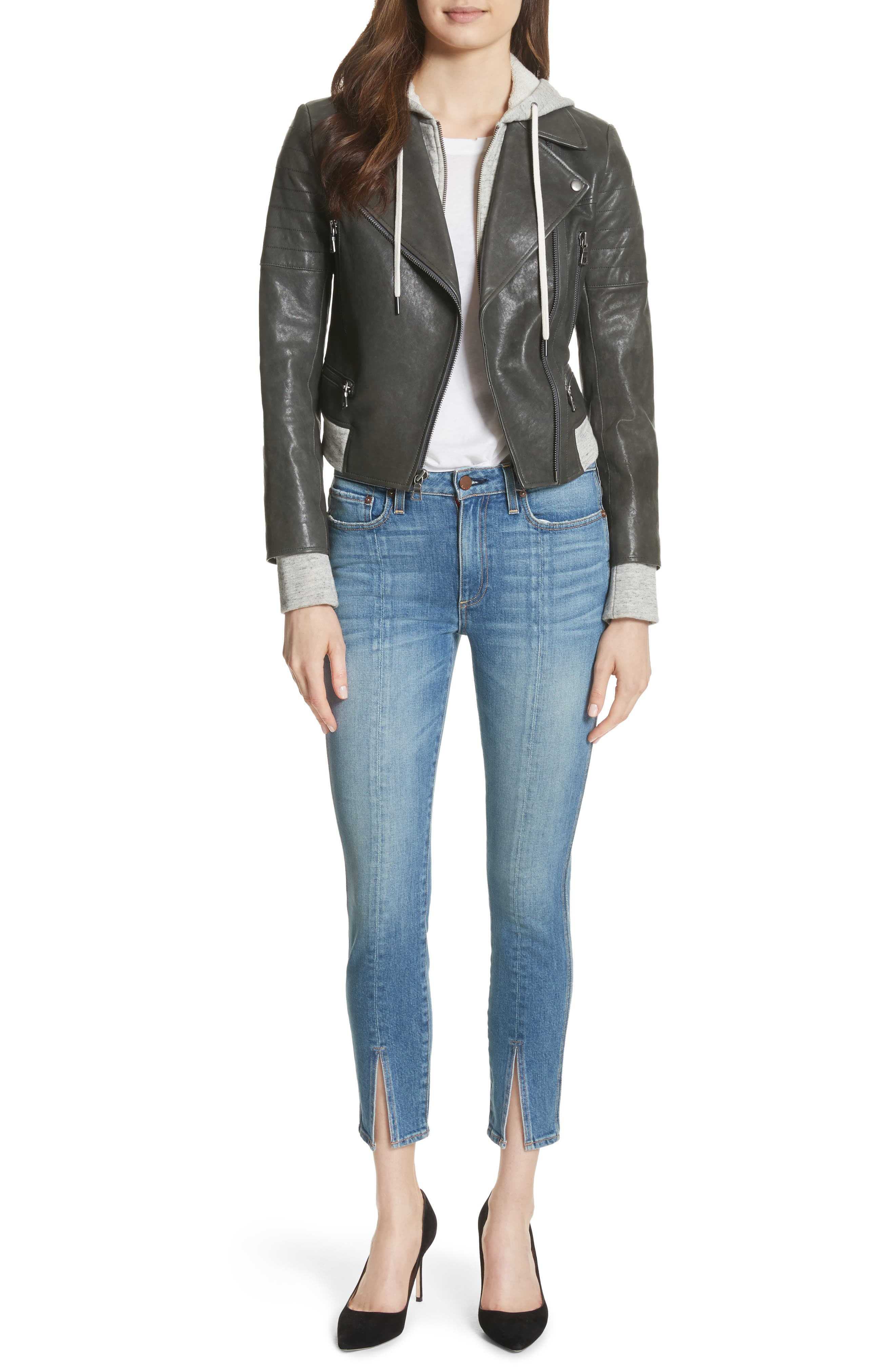 Avril Hooded Combo Leather Jacket,                             Alternate thumbnail 3, color,                             Charcoal
