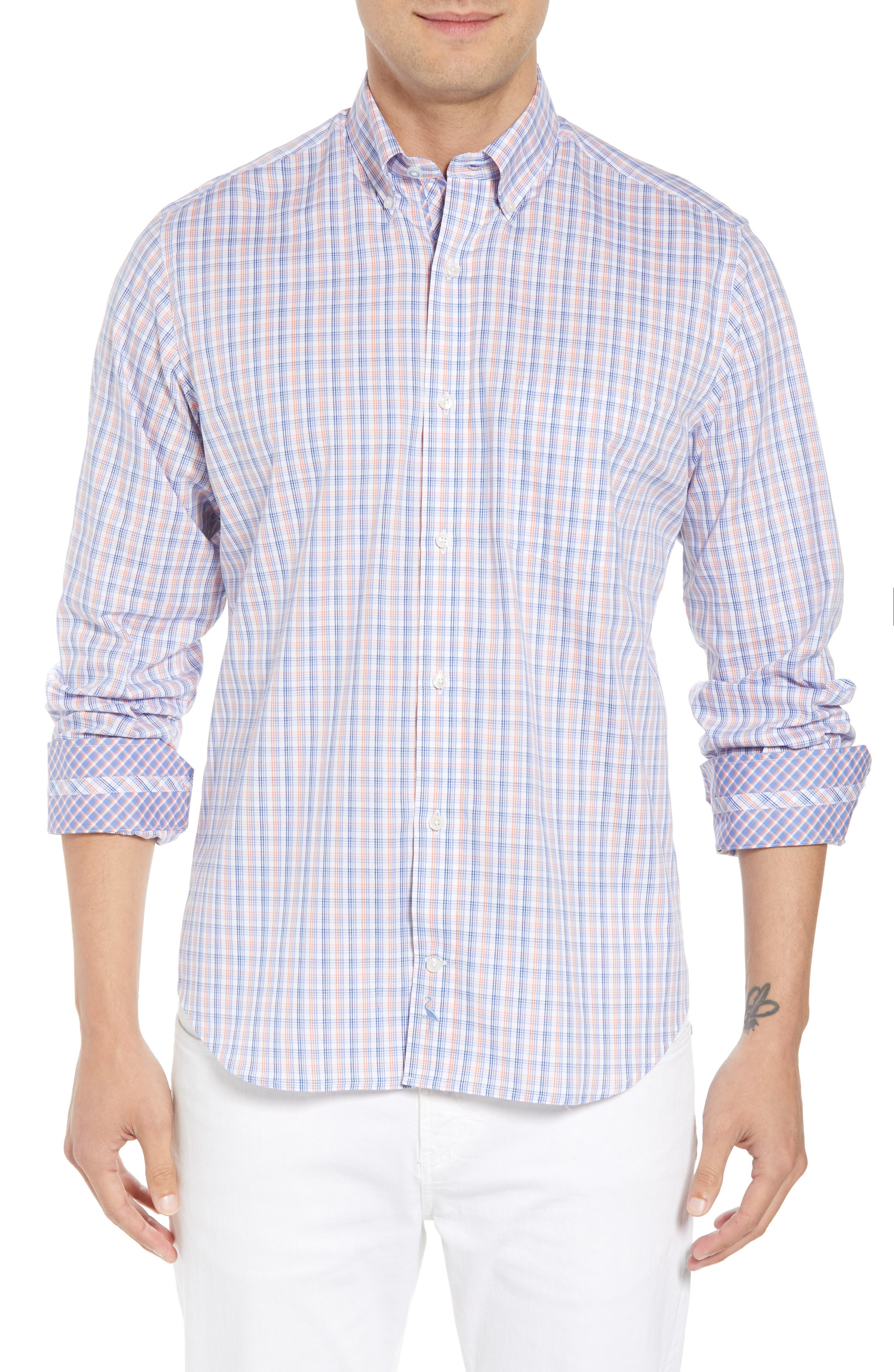 Adon Regular Fit Plaid Sport Shirt,                             Main thumbnail 1, color,                             Orange