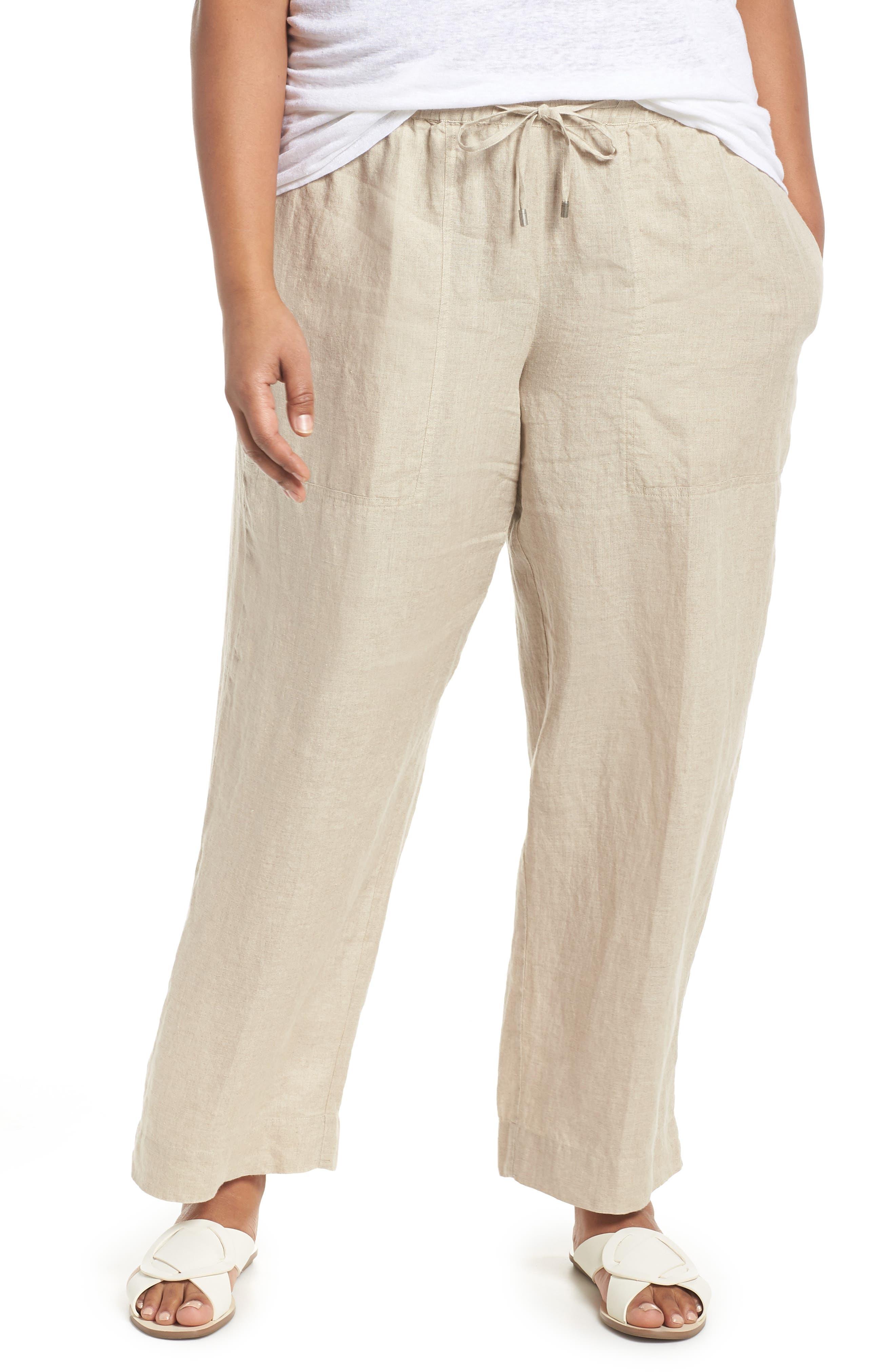 Organic Linen Ankle Pants,                             Main thumbnail 1, color,                             Undyed Natural