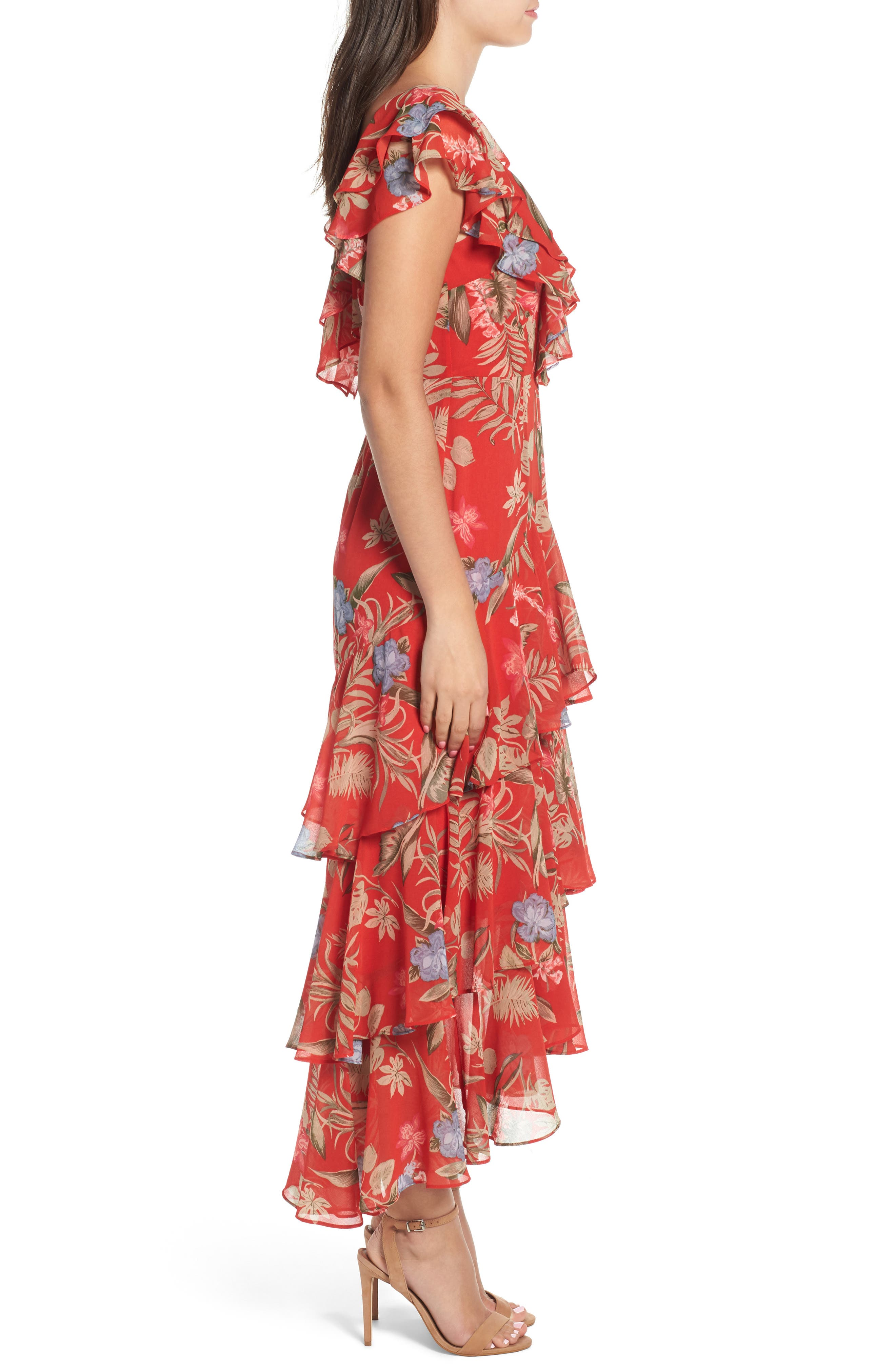 Chelsea Tiered Ruffle Maxi Dress,                             Alternate thumbnail 3, color,                             Red Tropical