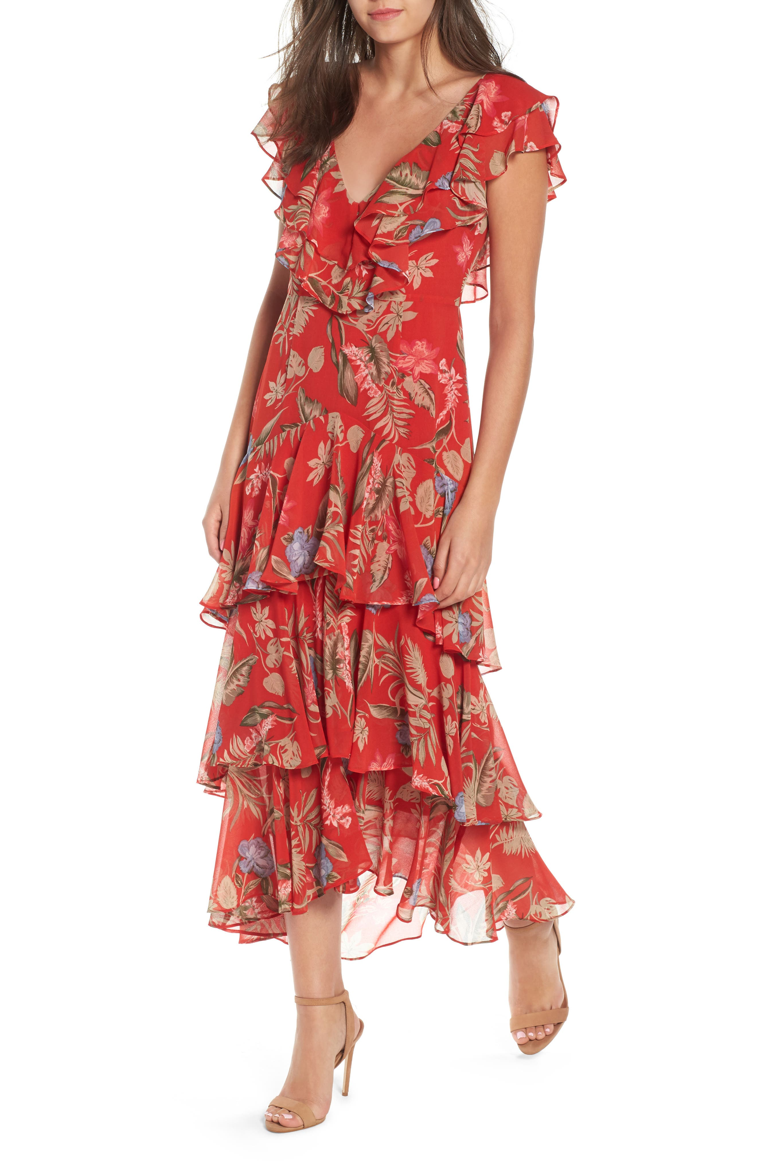 Chelsea Tiered Ruffle Maxi Dress,                             Main thumbnail 1, color,                             Red Tropical