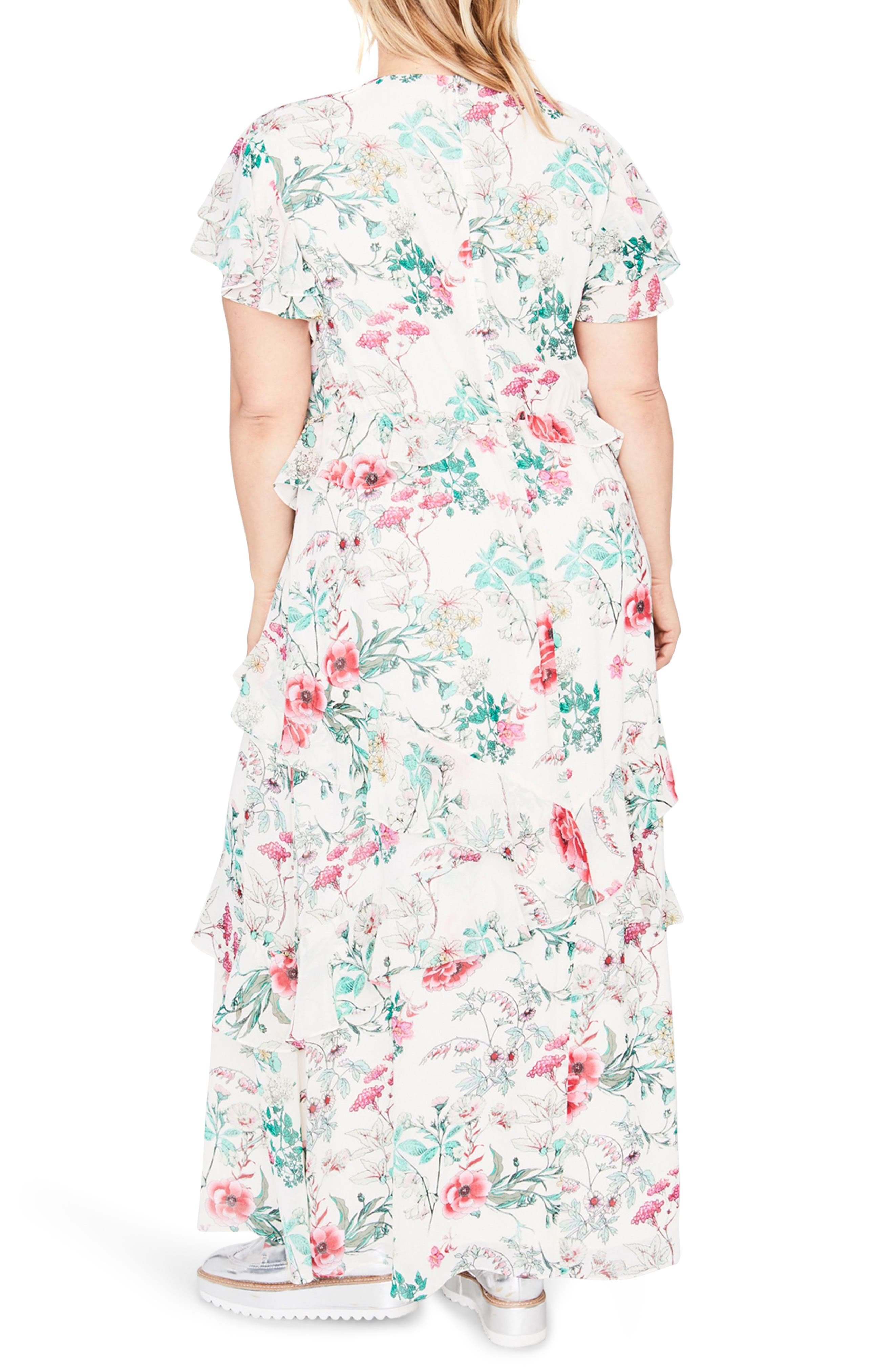 Ruffle Floral Maxi Dress,                             Alternate thumbnail 2, color,                             Almond Milk Combo