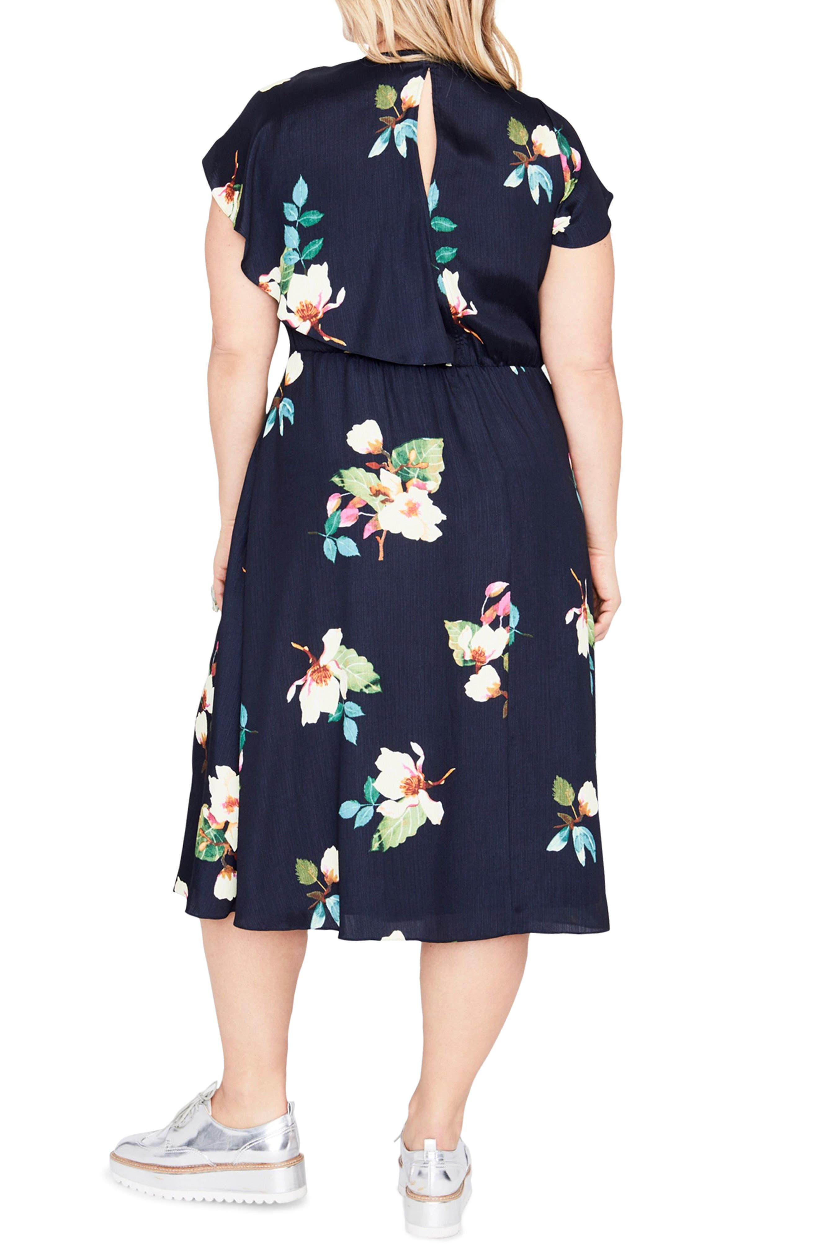 Magnolia Midi Dress,                             Alternate thumbnail 2, color,                             Navy Combo