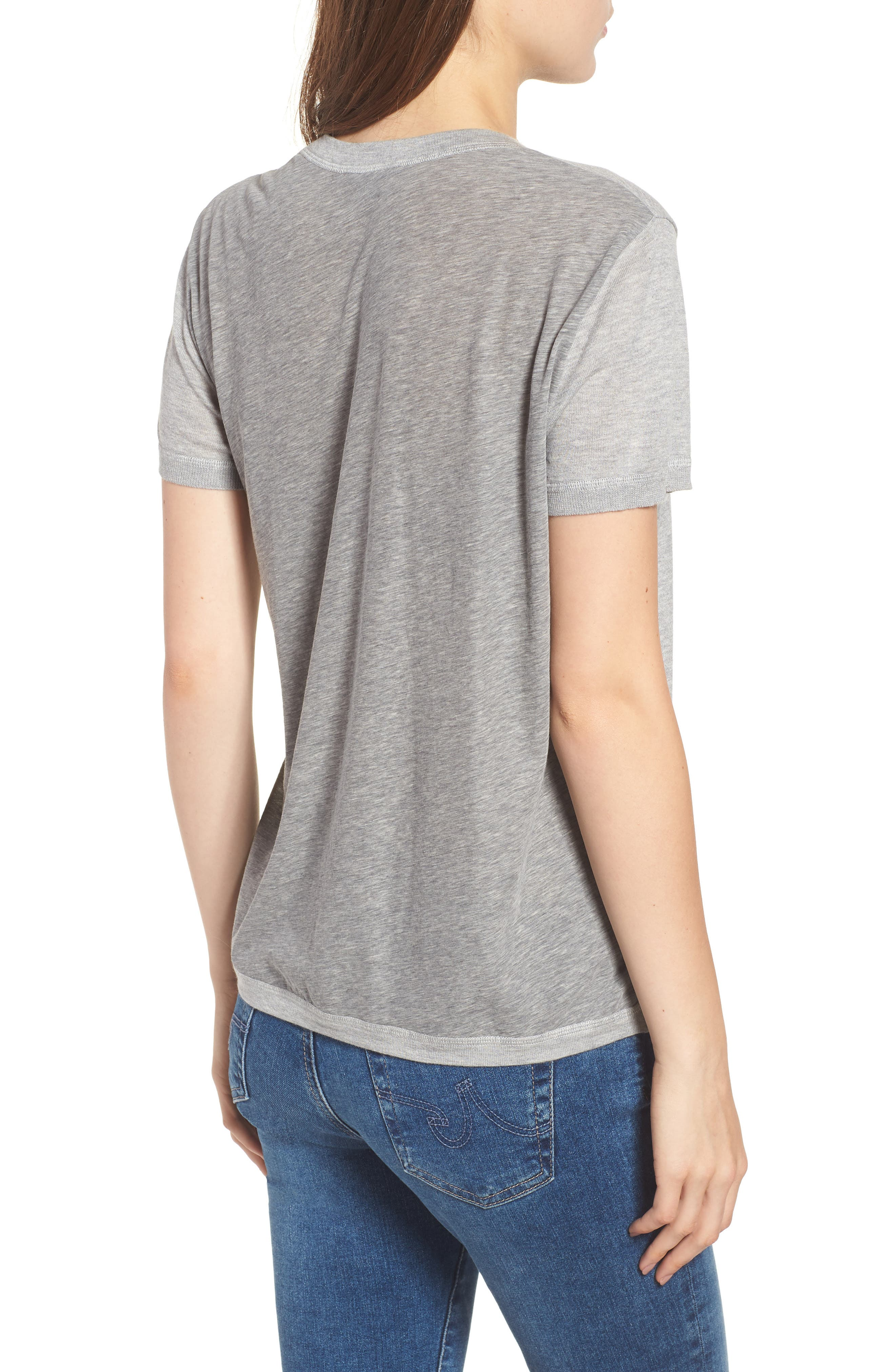 Cotton & Cashmere Tee,                             Alternate thumbnail 2, color,                             Heather Grey