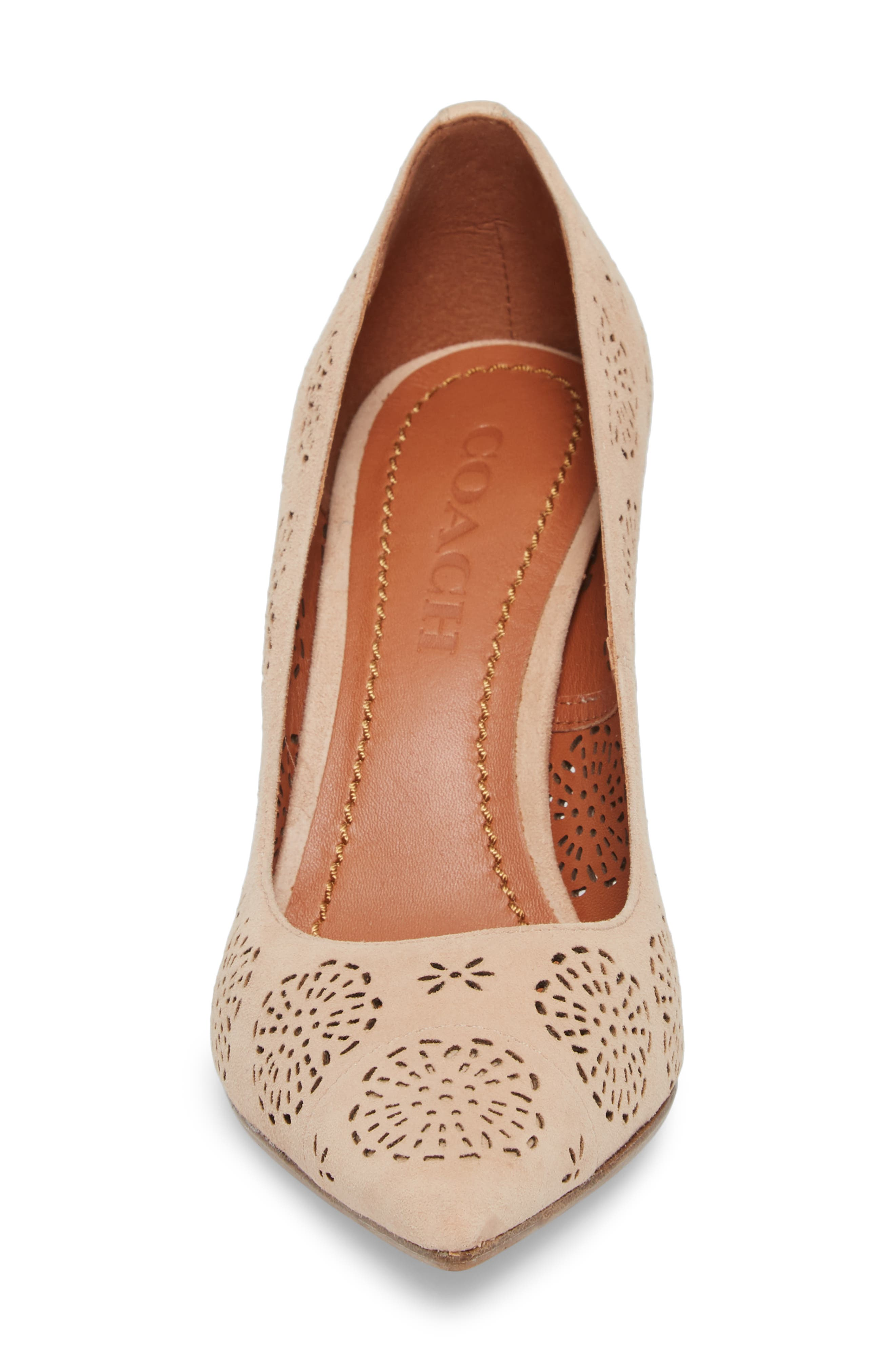 Waverly Tea Rose Perforated Pump,                             Alternate thumbnail 4, color,                             Beachwood Leather