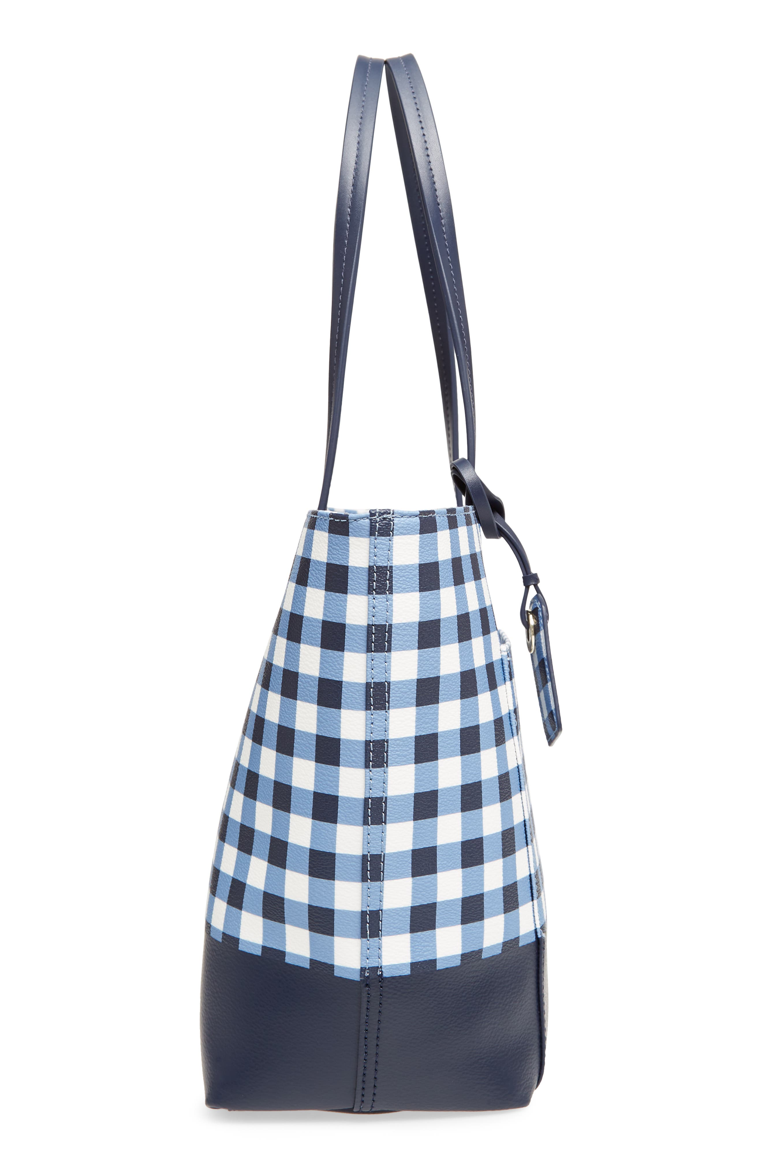 hyde lane gingham - small riley tote,                             Alternate thumbnail 5, color,                             Navy/ White