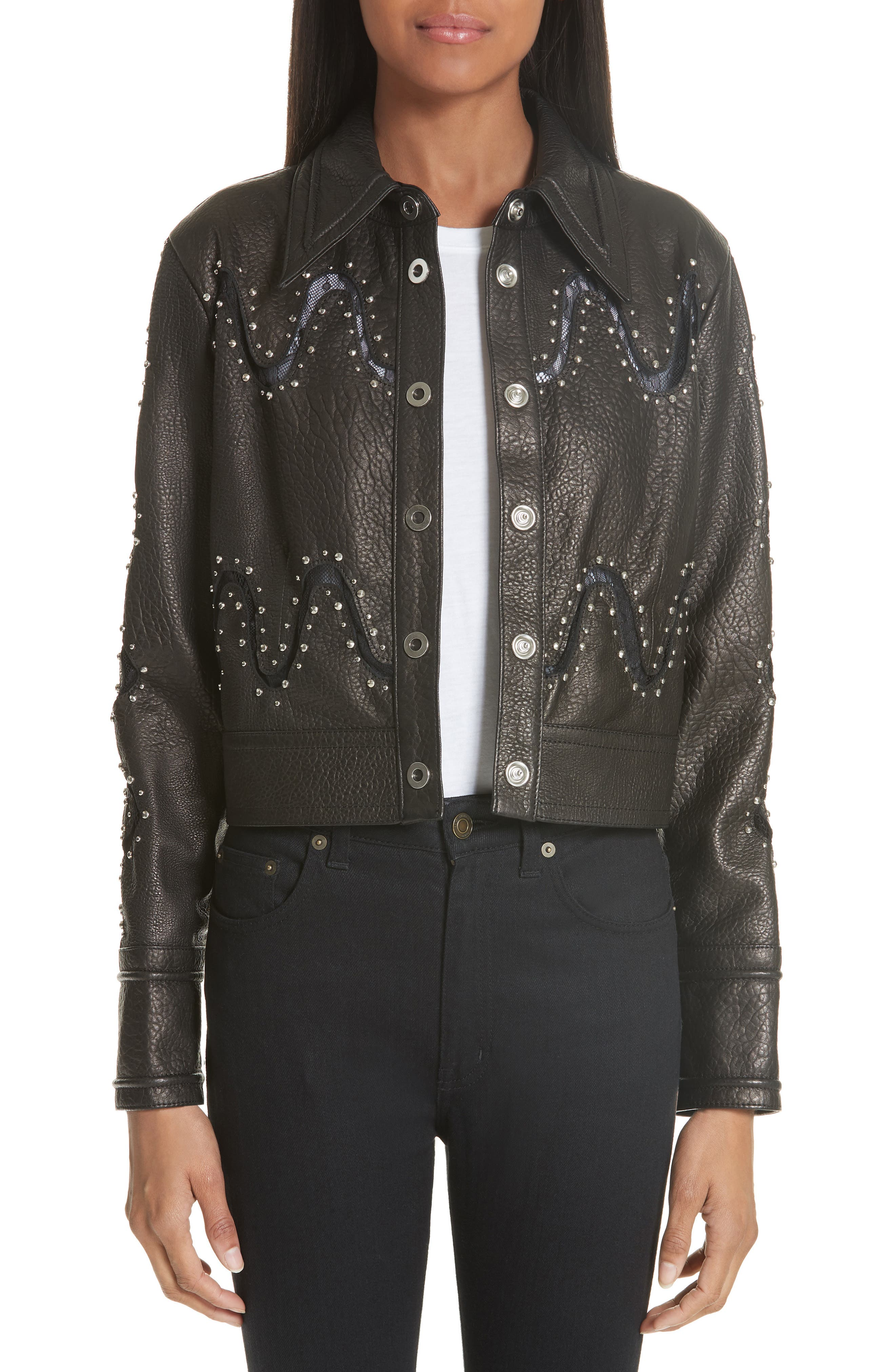Studded Lace Inset Leather Jacket,                         Main,                         color, Jet Optic