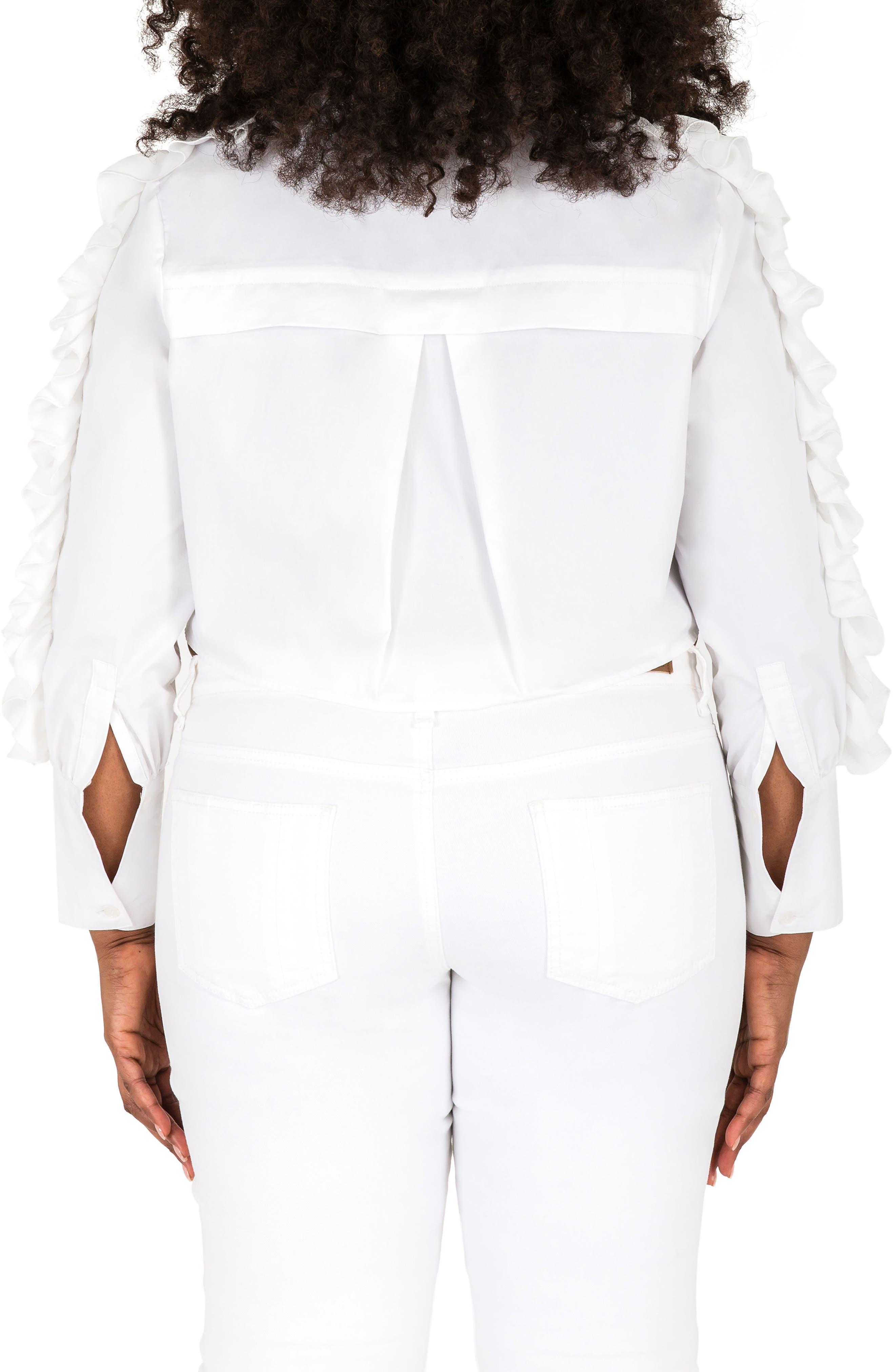 Mayasia Ruffle Sleeve Crop Shirt,                             Alternate thumbnail 2, color,                             White