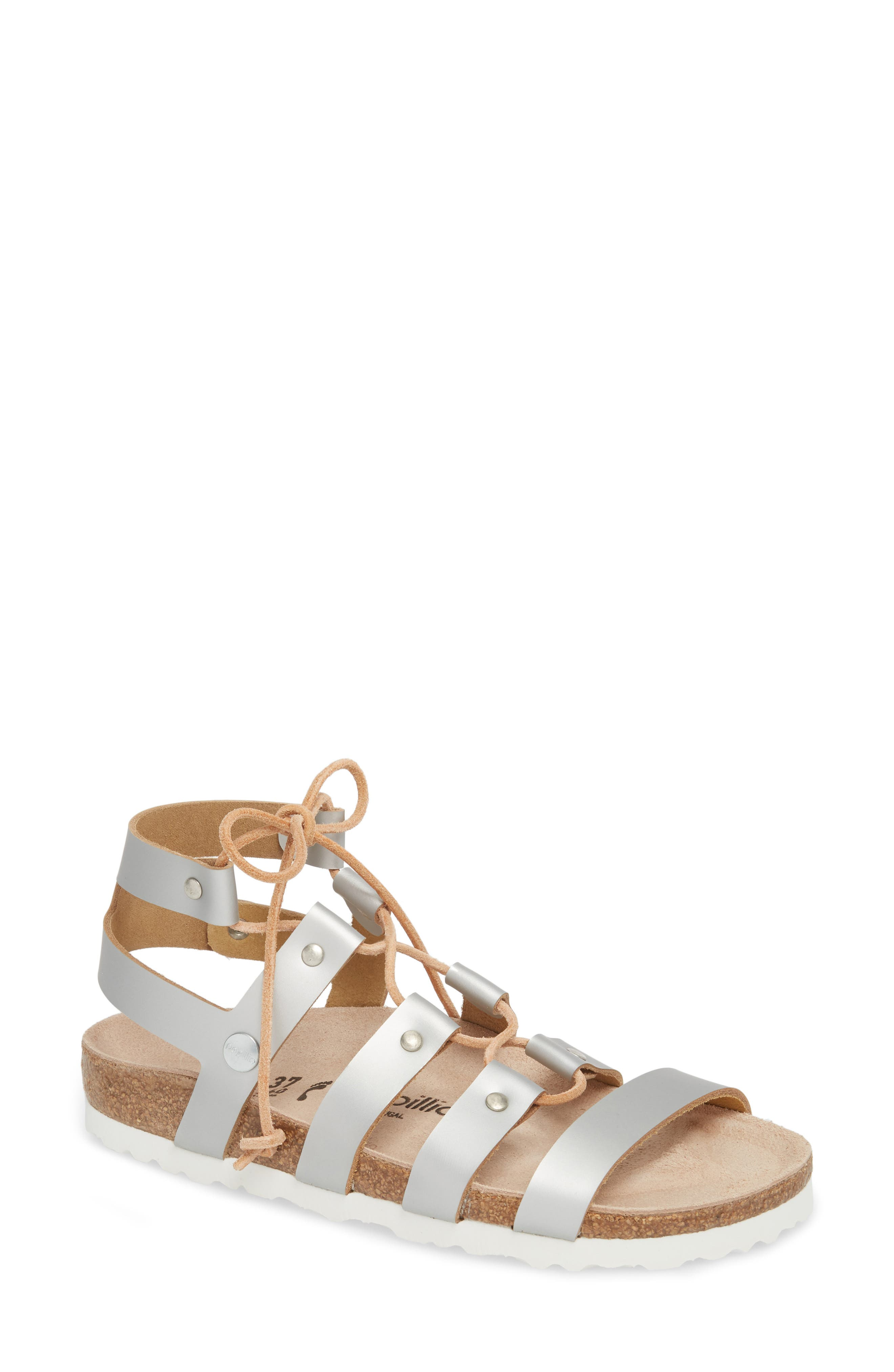 Papillio by Birkenstock Cleo Gladiator Sandal,                             Main thumbnail 1, color,                             Frosted Silver Leather