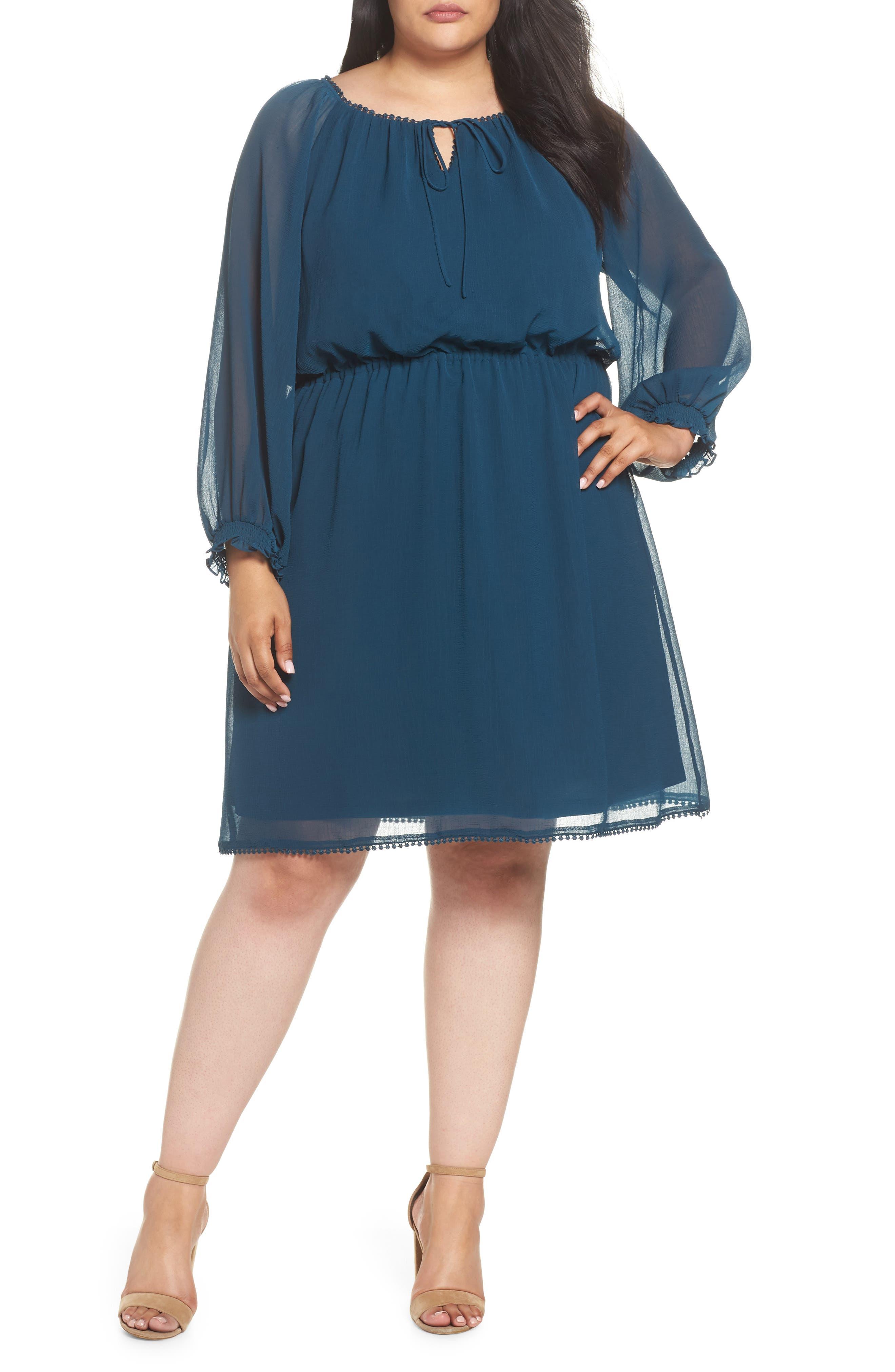 Bishop Sleeve Blouson Dress,                             Main thumbnail 1, color,                             Midnight Jungle