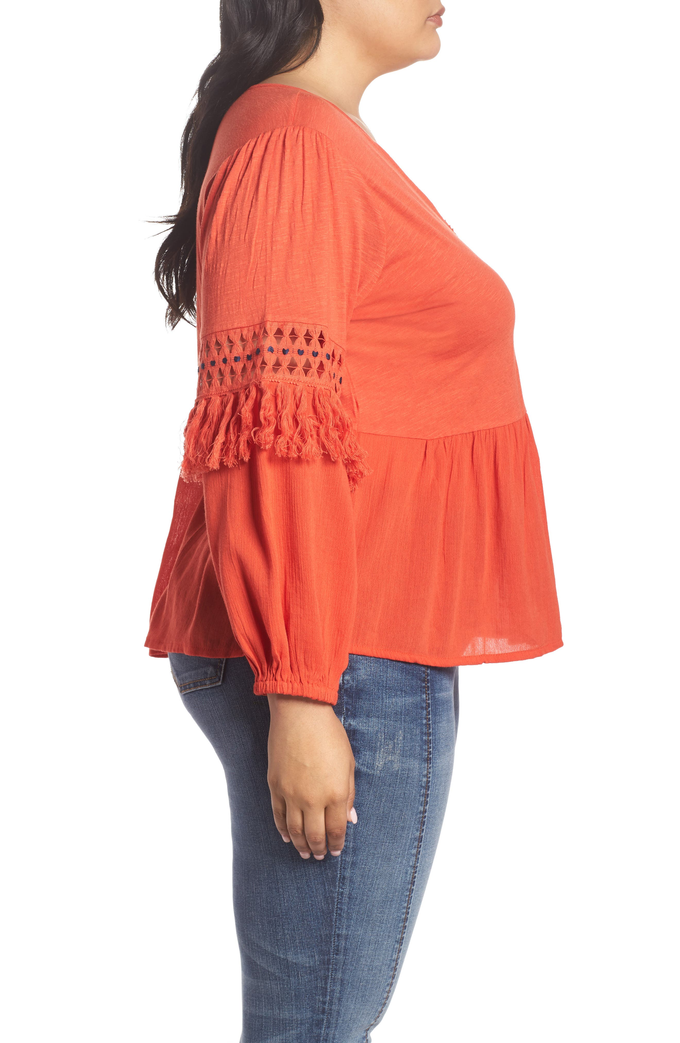 Cutout Peasant Top,                             Alternate thumbnail 3, color,                             Red Clay