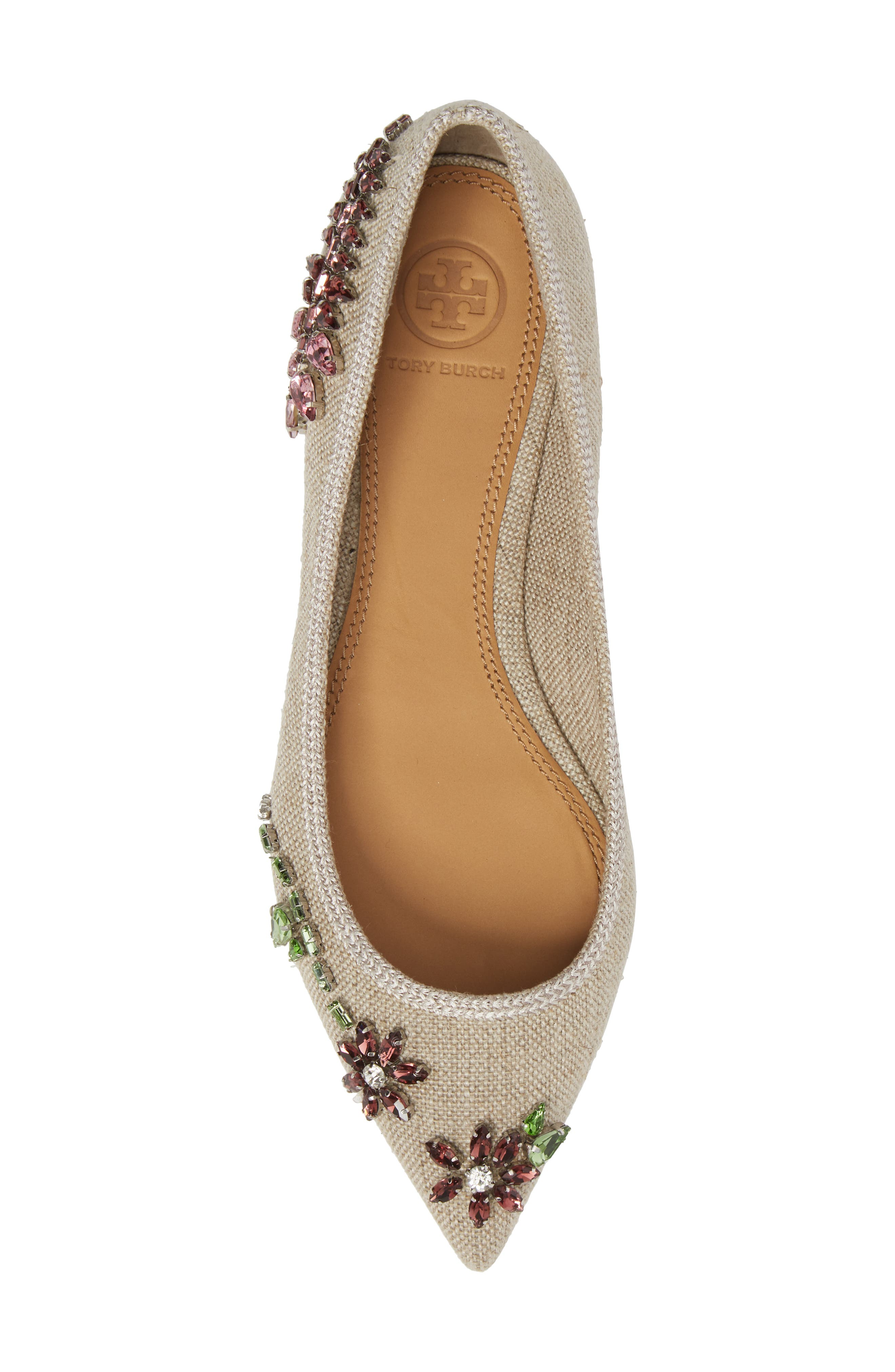 Meadow Embellished Pointy Toe Flat,                             Alternate thumbnail 5, color,                             Natural/ Multi Color