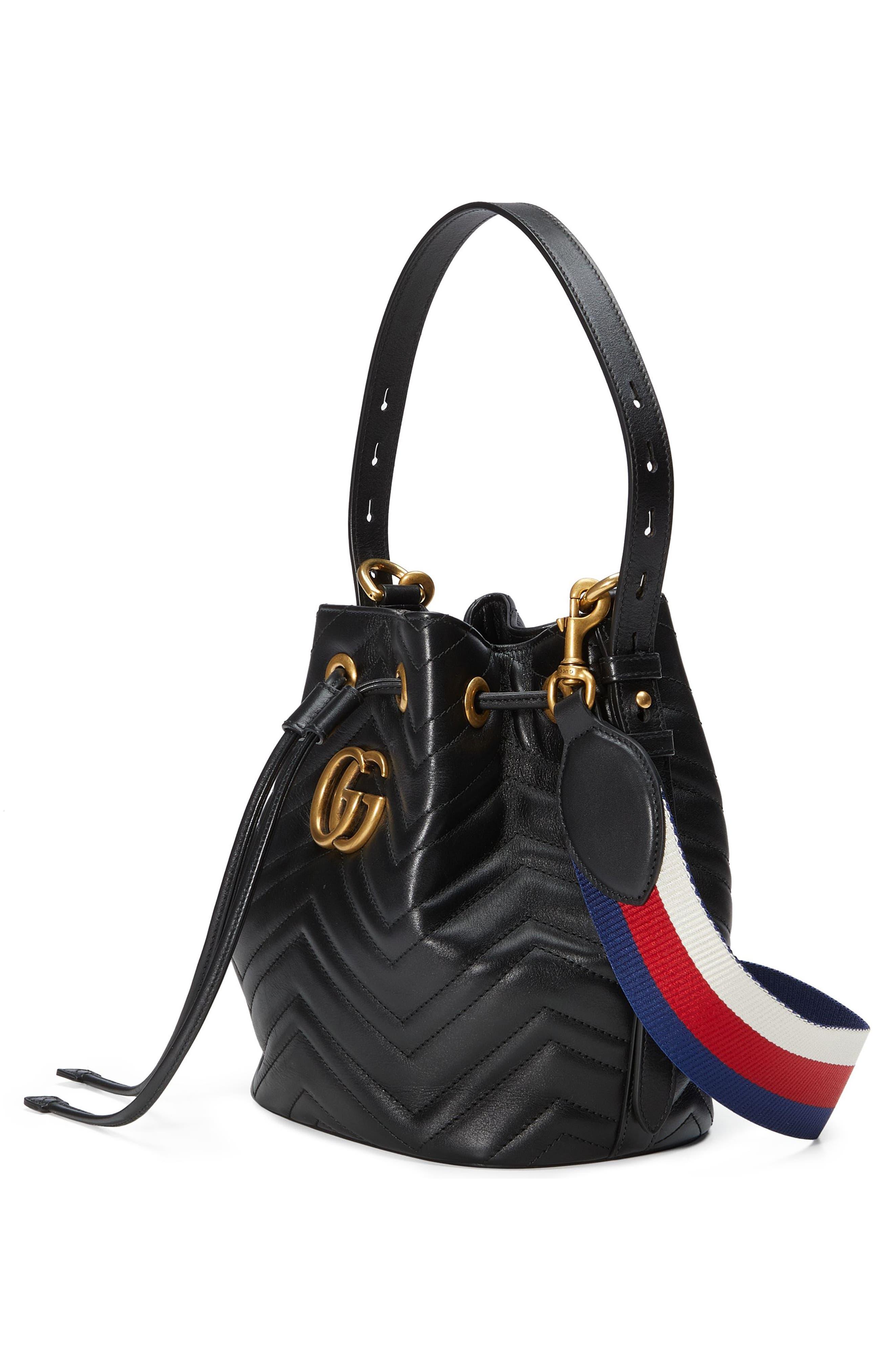GG Marmont 2.0 Matelassé Leather Bucket Bag,                             Alternate thumbnail 4, color,                             Nero