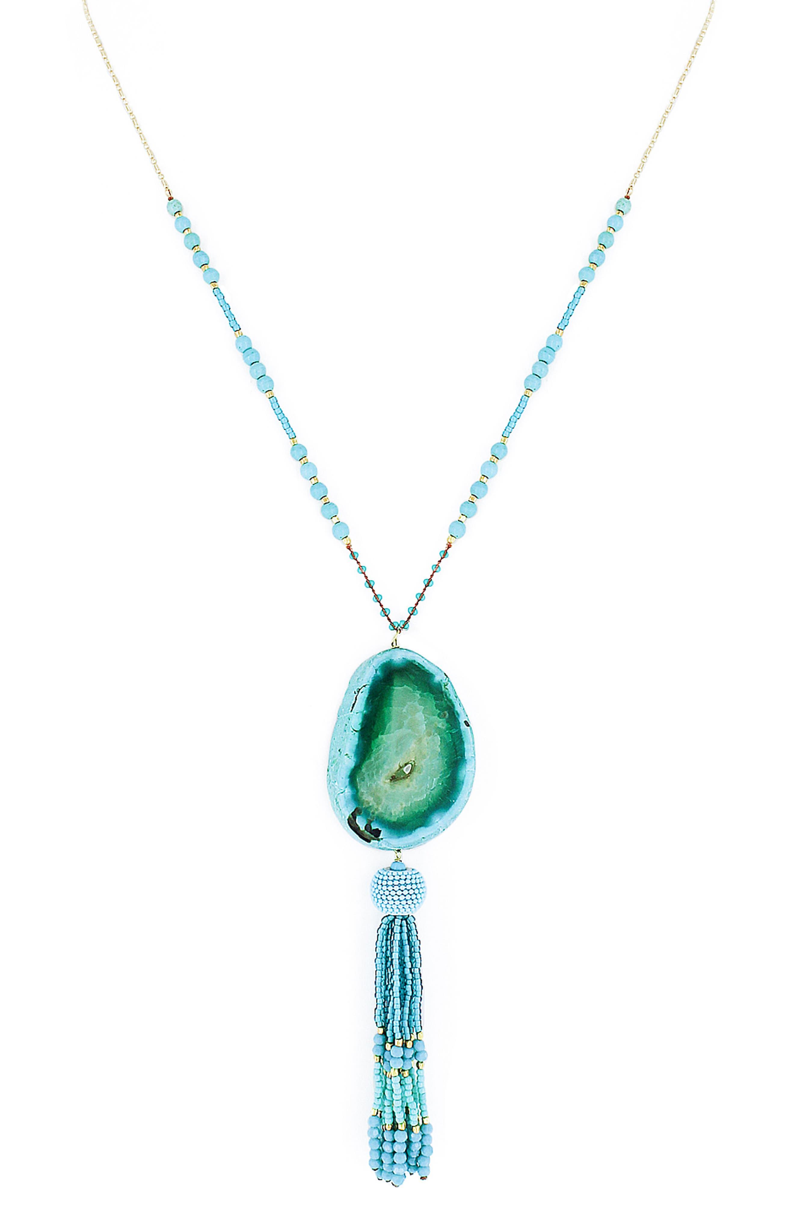 Panacea Drusy & Tassel Pendant Necklace