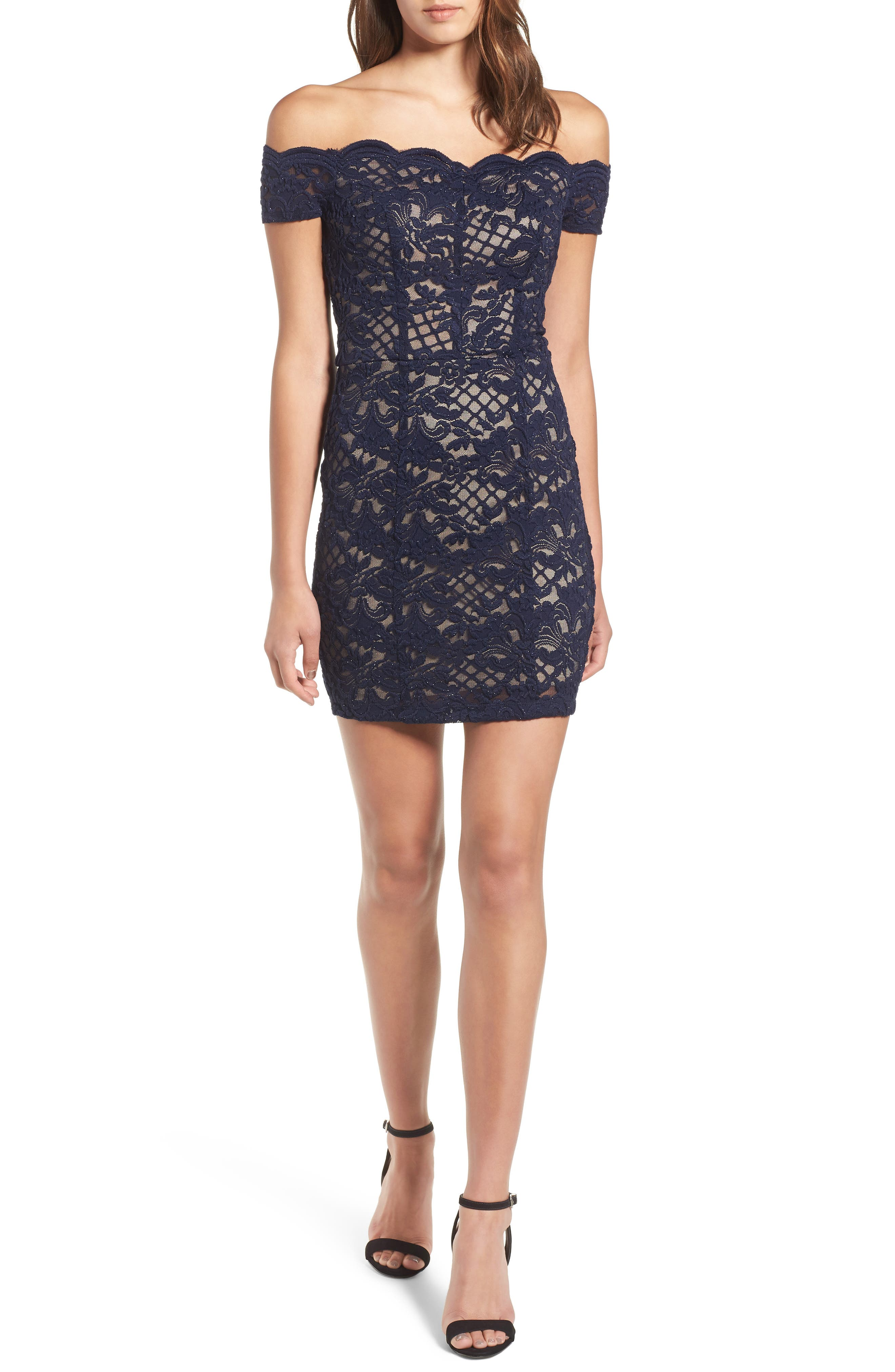 Lace Off the Shoulder Body-Con Dress,                             Main thumbnail 1, color,                             Navy/ Taupe