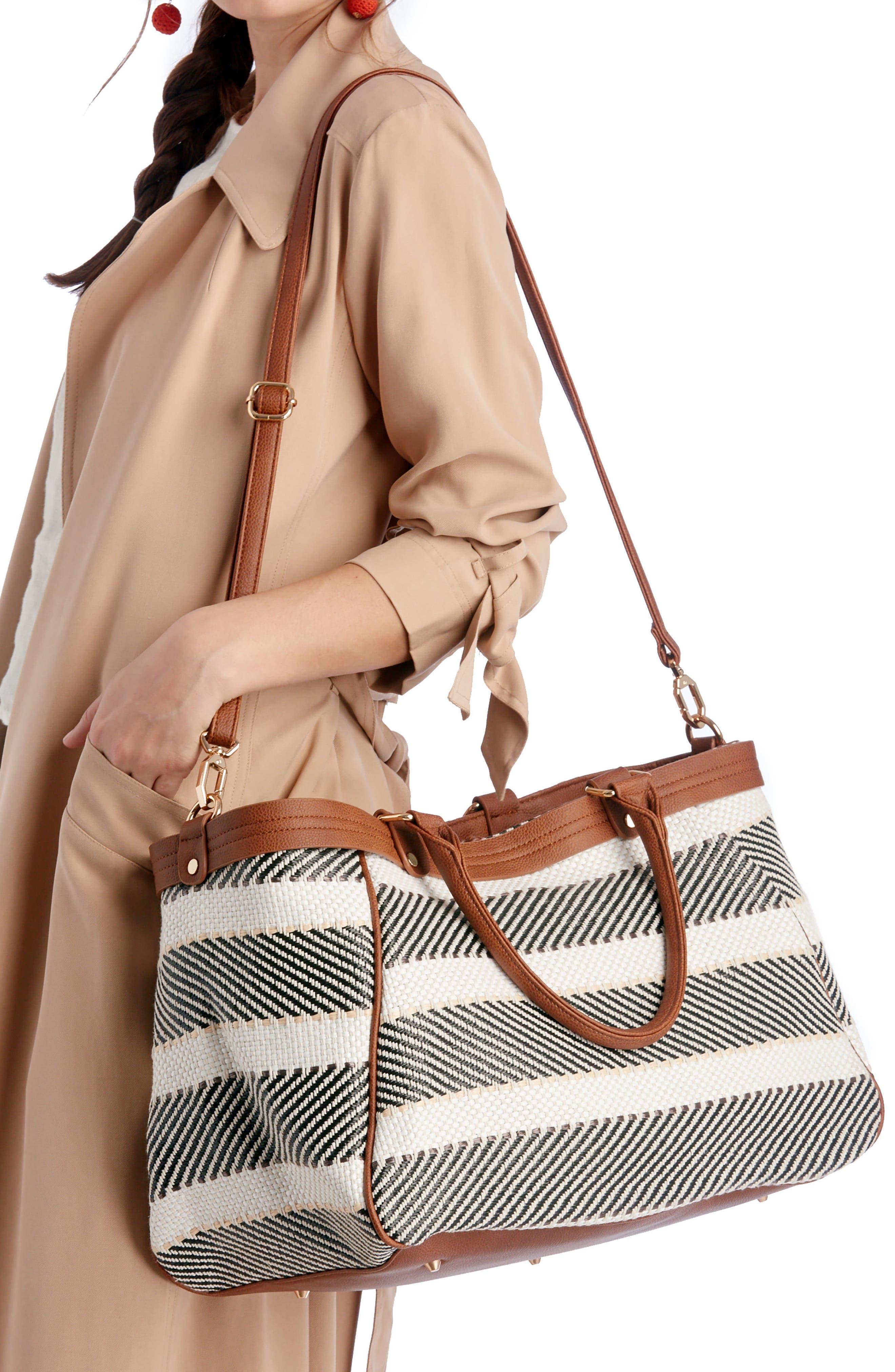 Stripe Woven Weekend Bag,                             Alternate thumbnail 2, color,                             Black/ Cream Combo