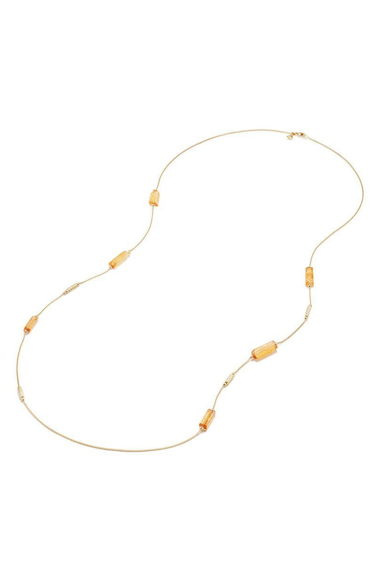 Fine Bead Imperial Topaz Chain Necklace,                             Alternate thumbnail 2, color,                             Gold/ Imperial Topaz