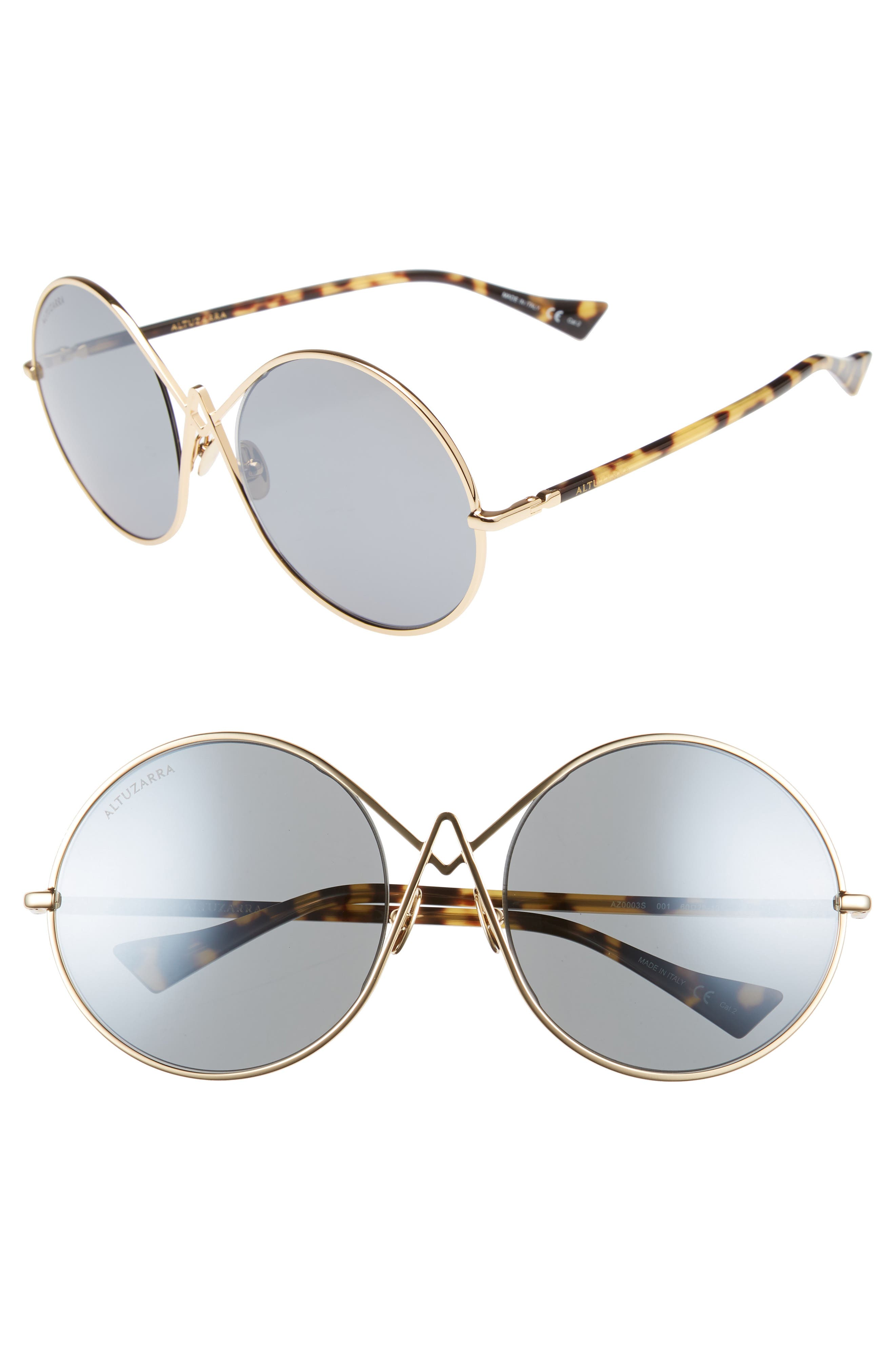 60mm Round Sunglasses,                             Main thumbnail 1, color,                             Gold