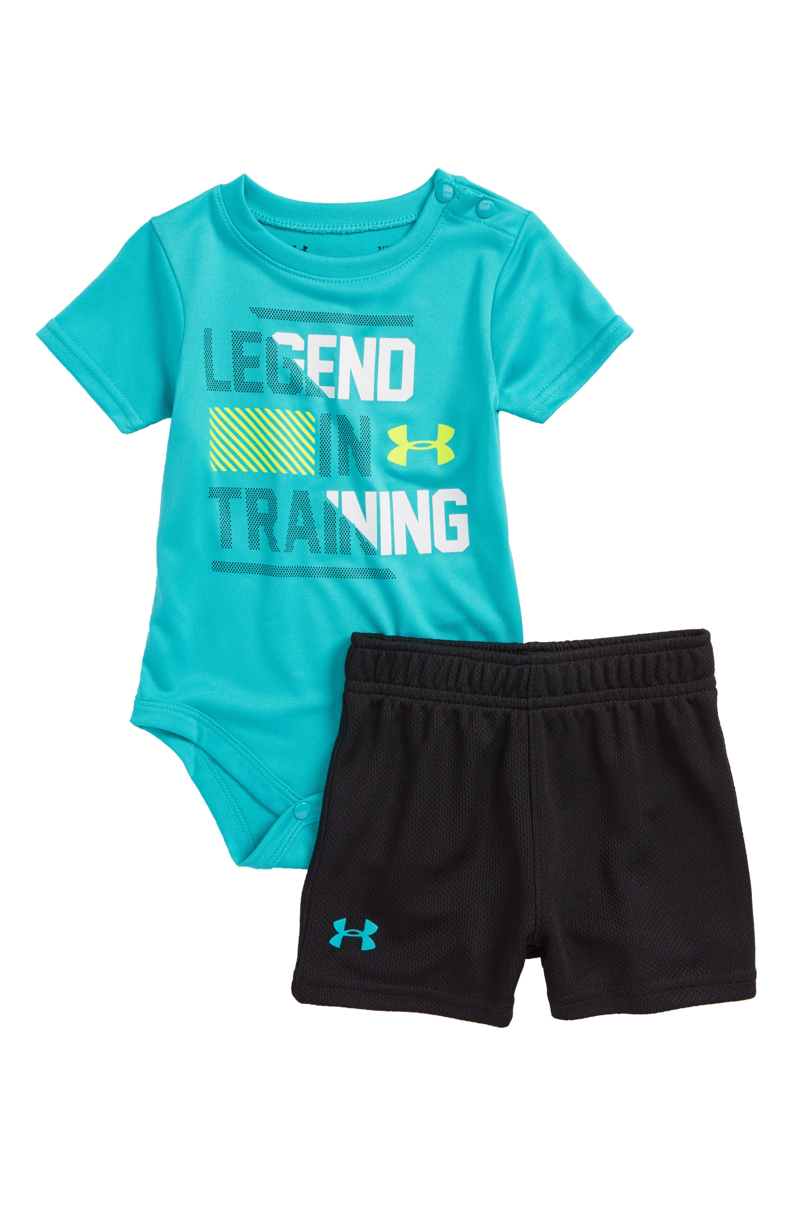 Legend in Training T-Shirt & Shorts Set,                             Main thumbnail 1, color,                             Teal Punch