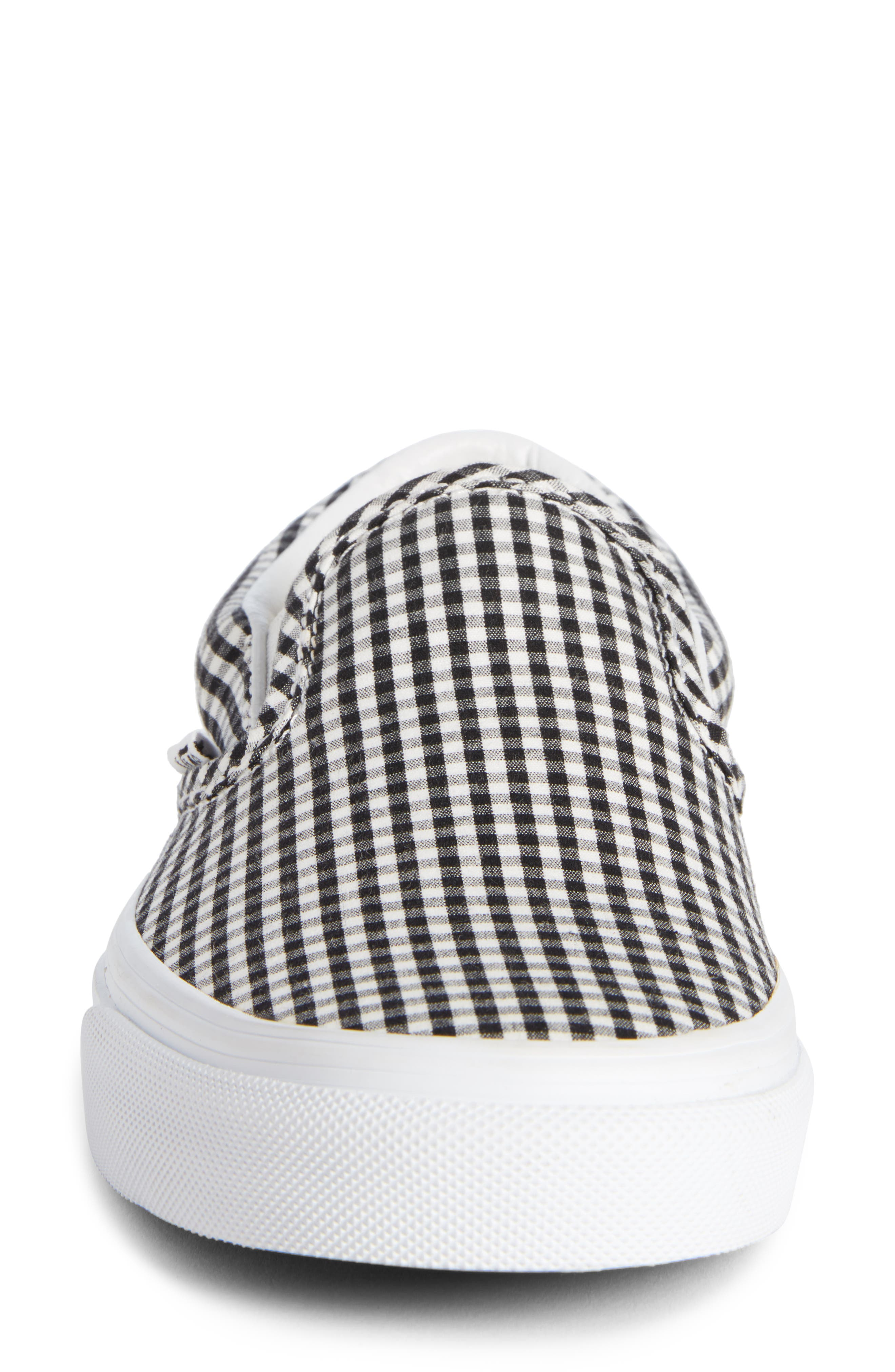 Classic Slip-On Sneaker,                             Alternate thumbnail 4, color,                             Black/ True White Gingham