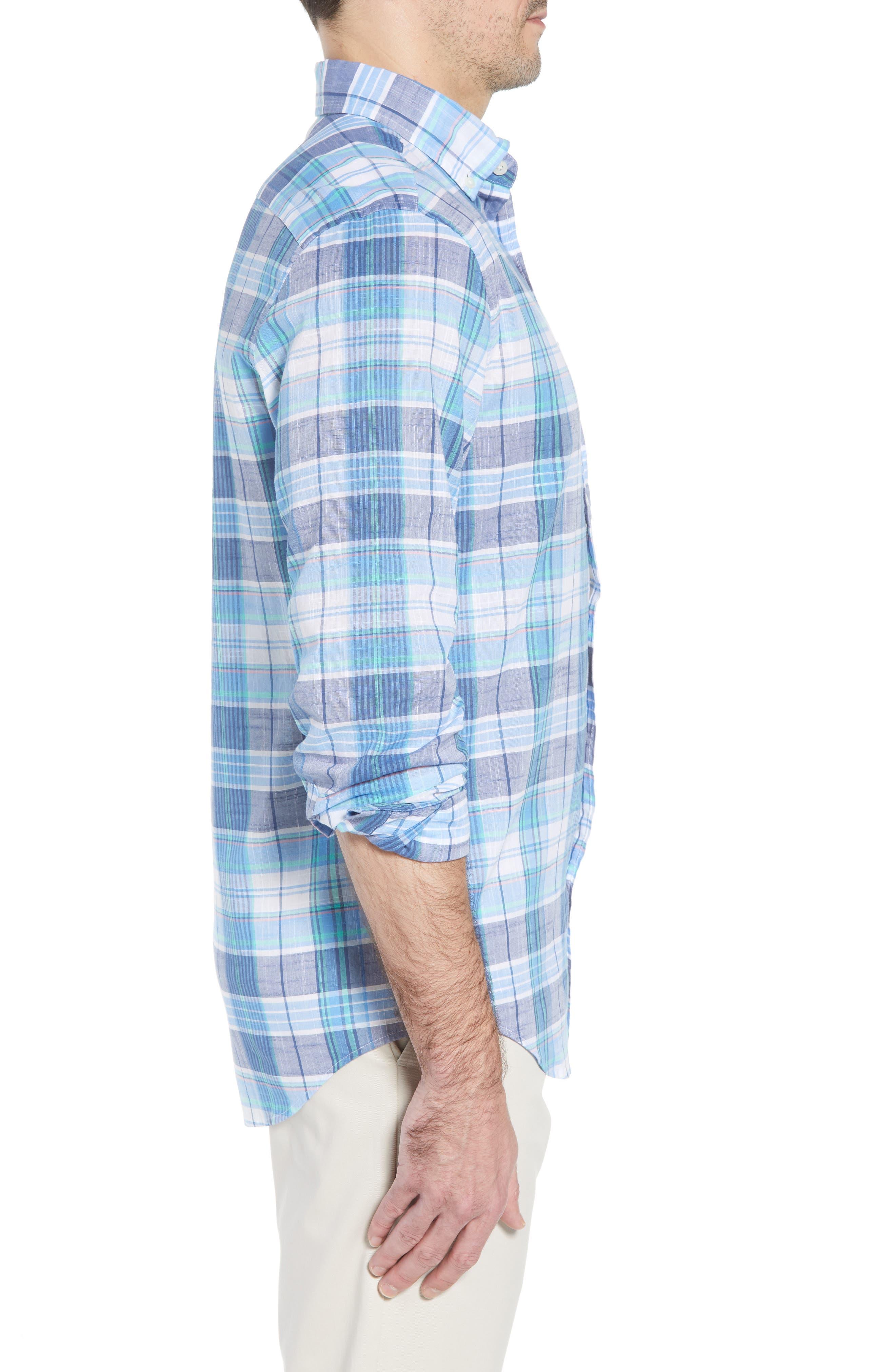 Smith Point Tucker Classic Fit Plaid Sport Shirt,                             Alternate thumbnail 4, color,                             Moonshine